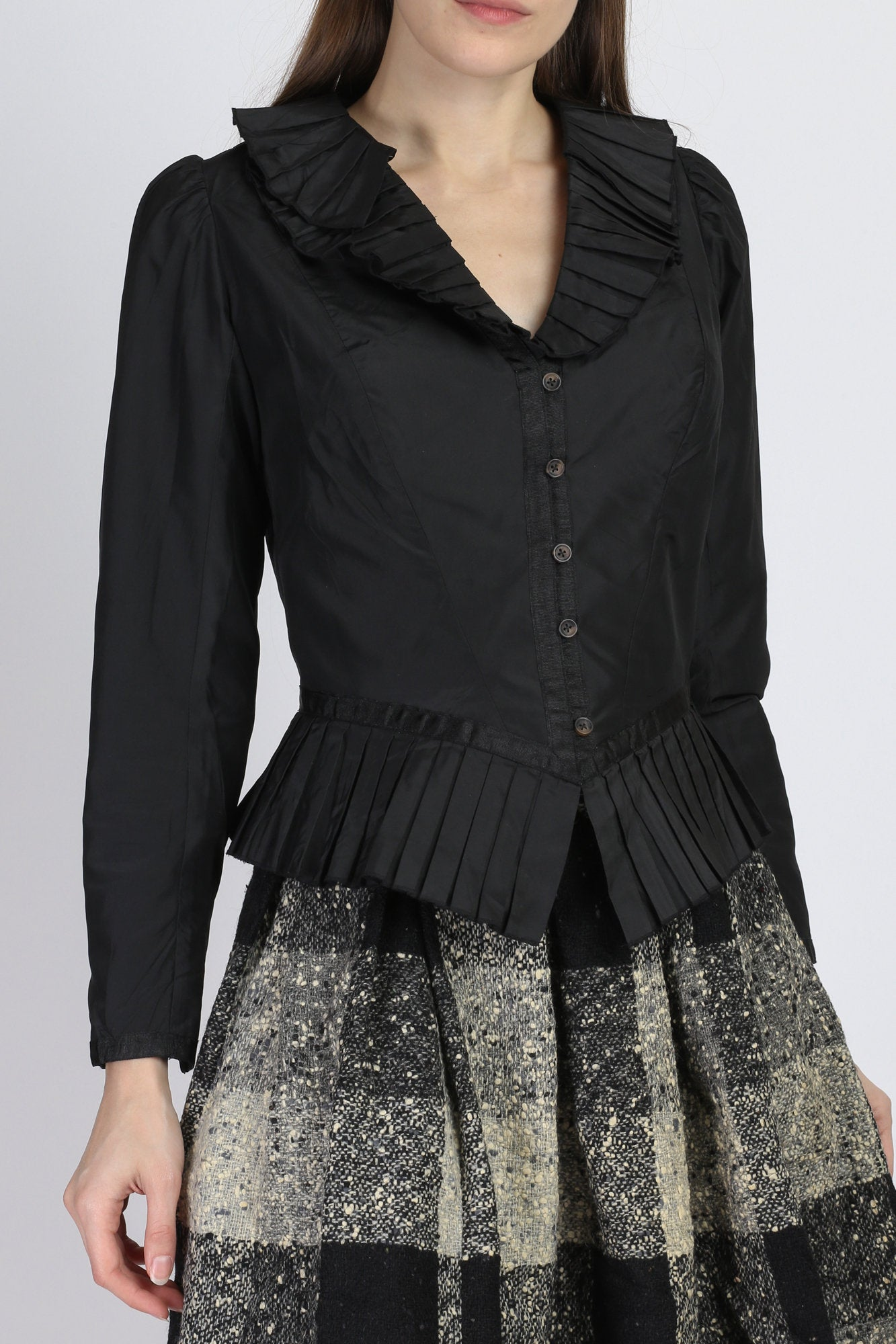 Vintage Tadashi Black Pleated Victorian Blouse - Small