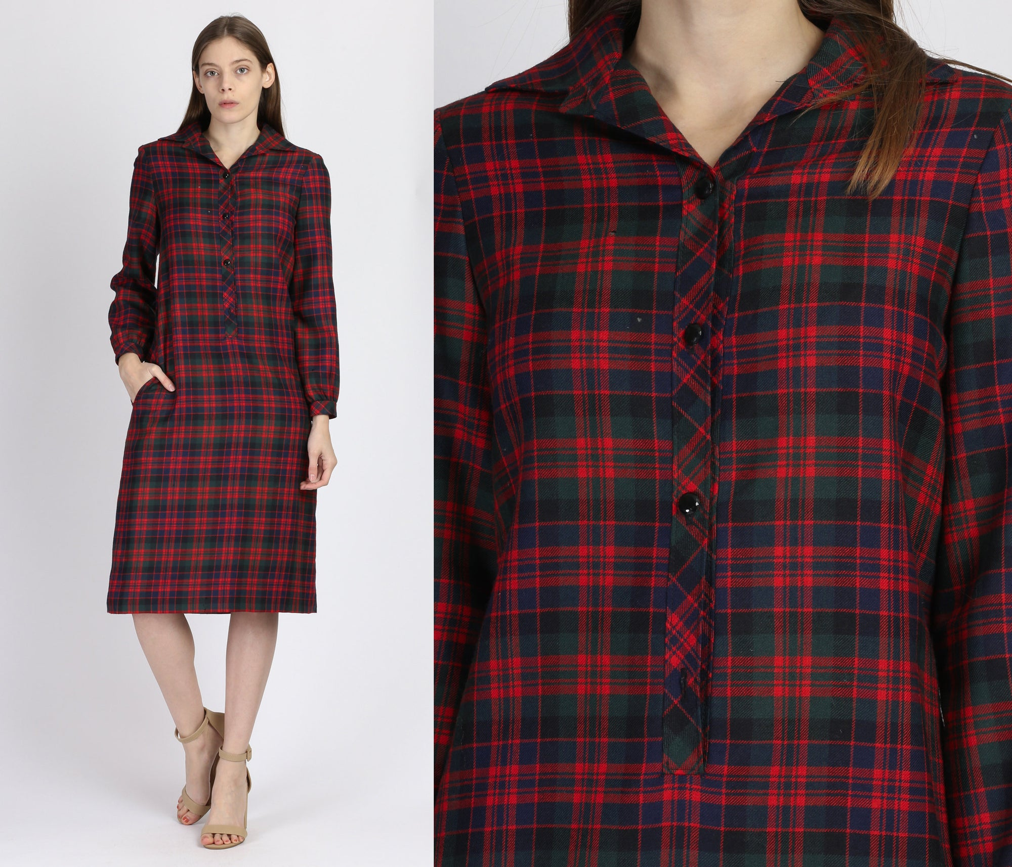 80s Red & Green Plaid Midi Dress - Medium