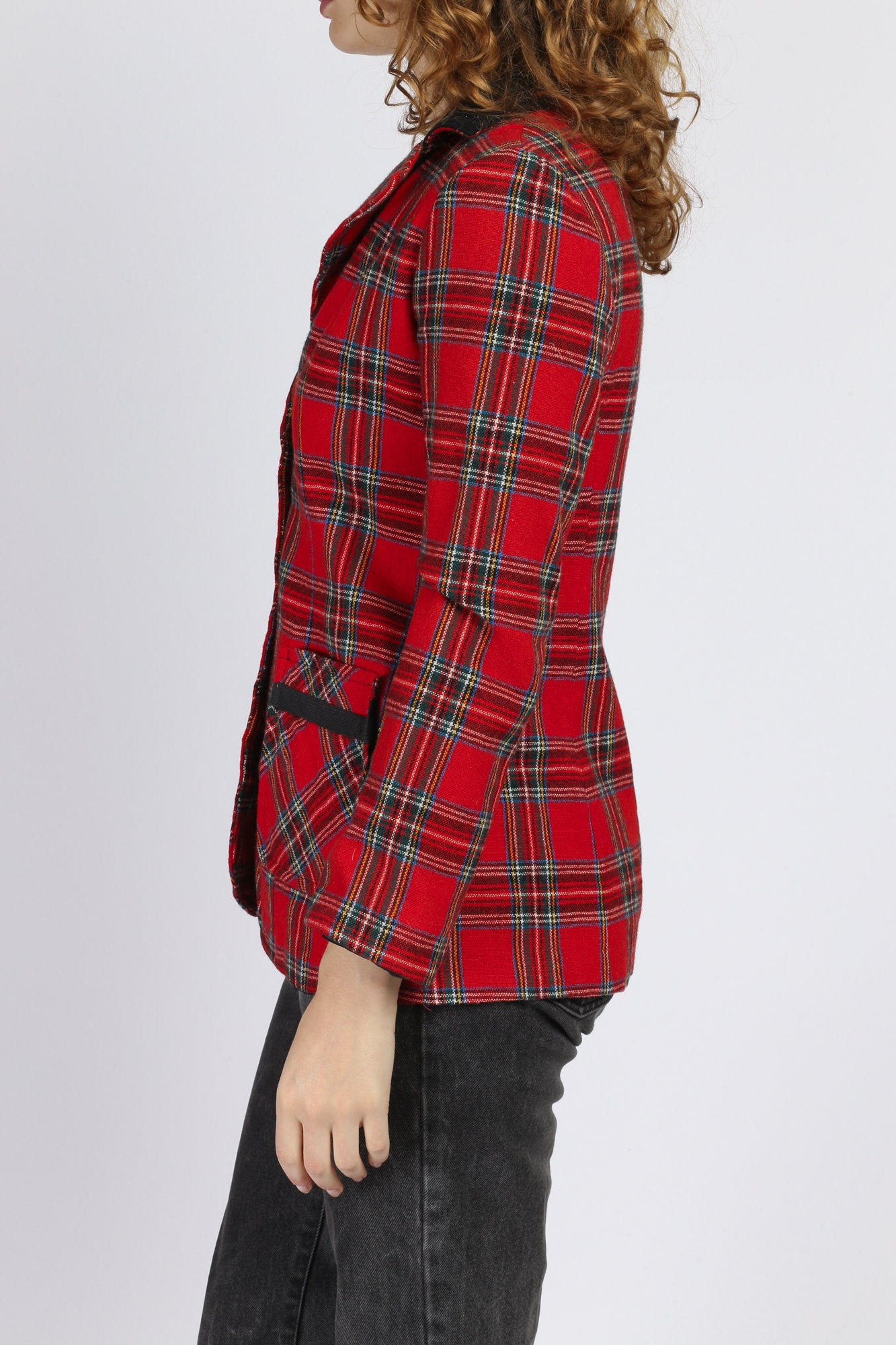 70s Red Plaid Blazer - XS to Small