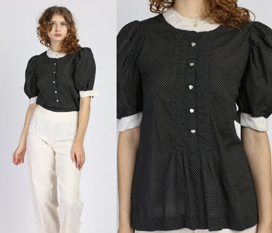 1950s Black & White Heart Button Puff Sleeve Blouse - Small