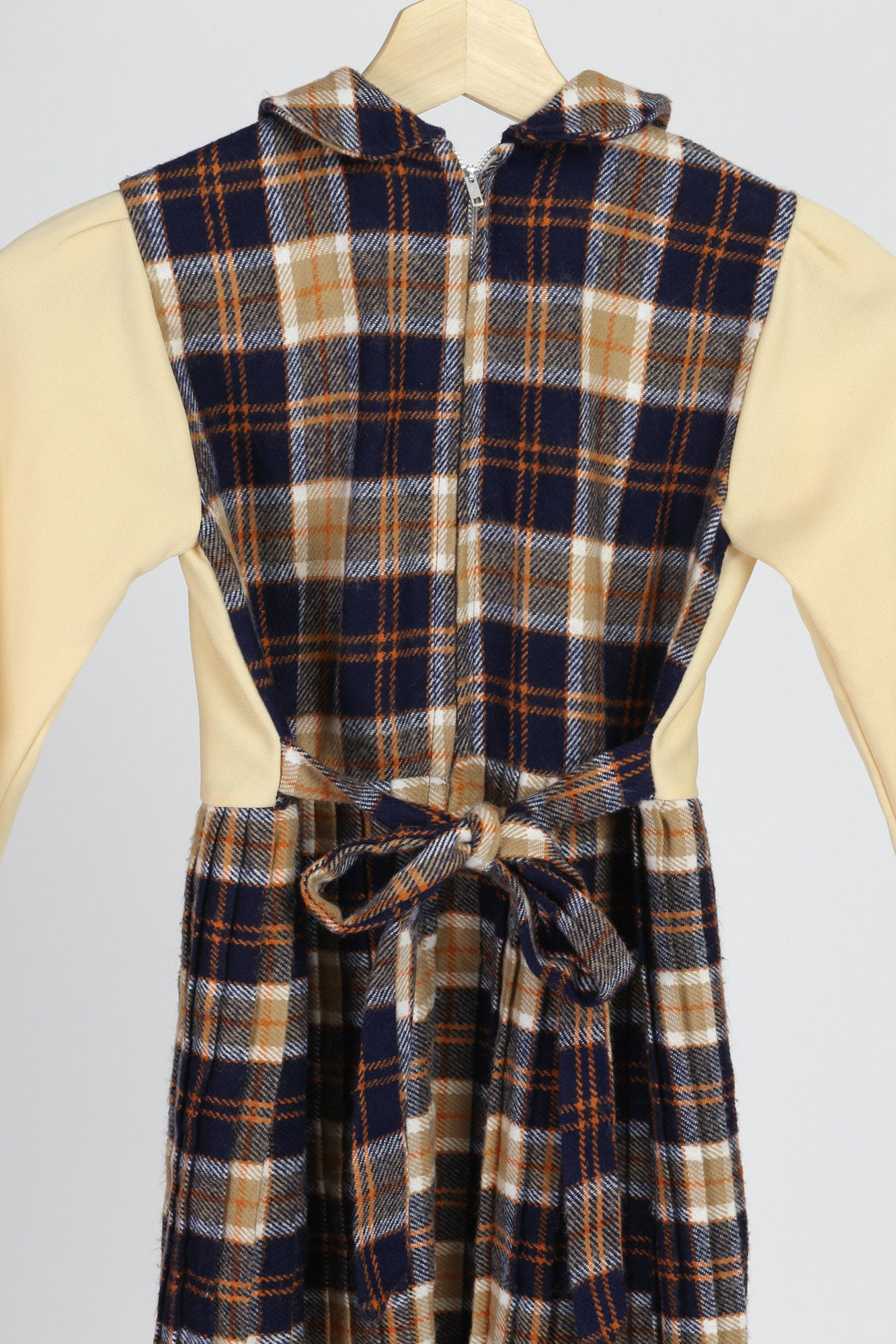 70s Mod Schoolgirl Plaid Dress - Girl's Medium