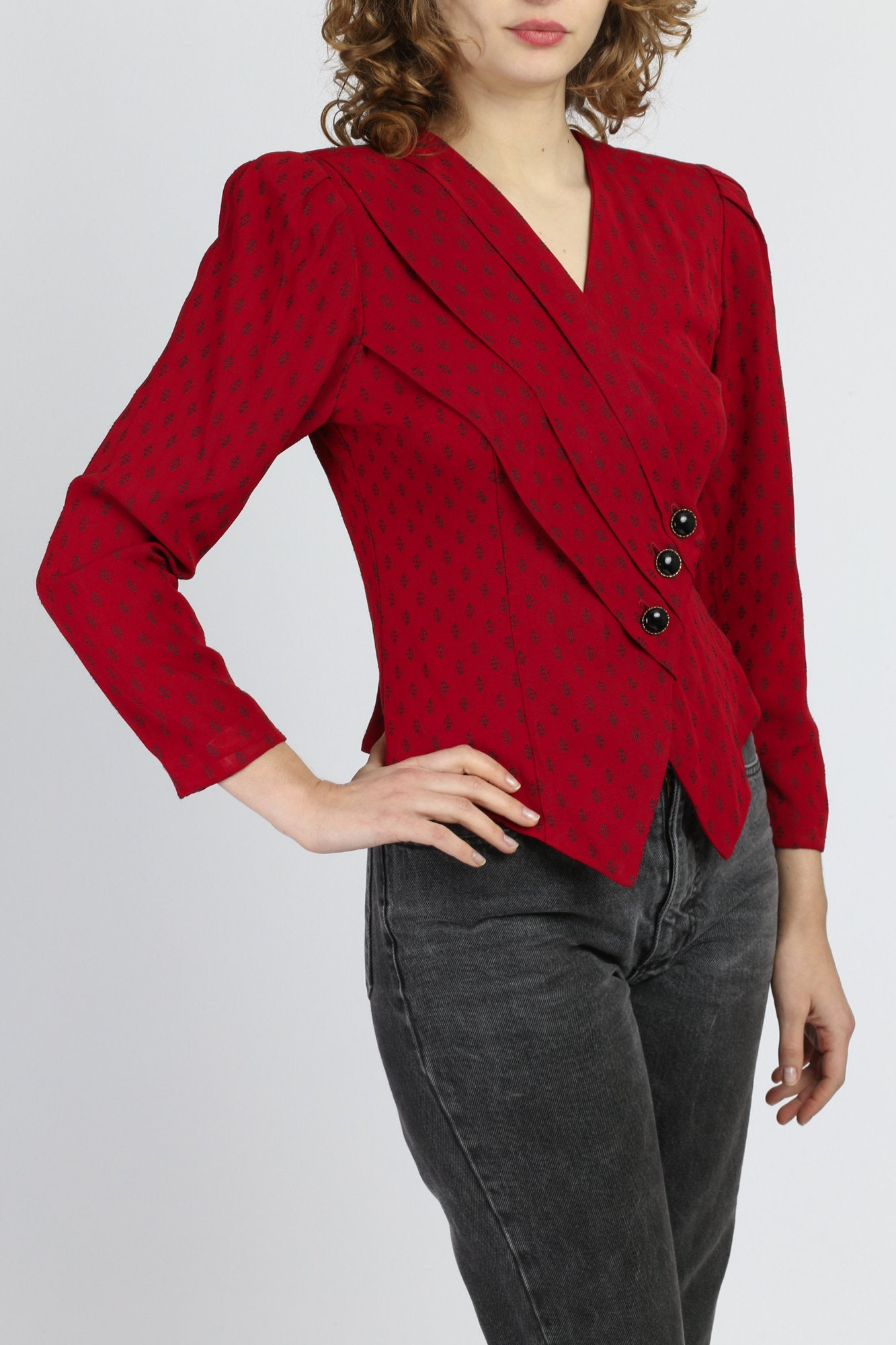 80s Red Tailored Blazer Crop Top - Small to Medium