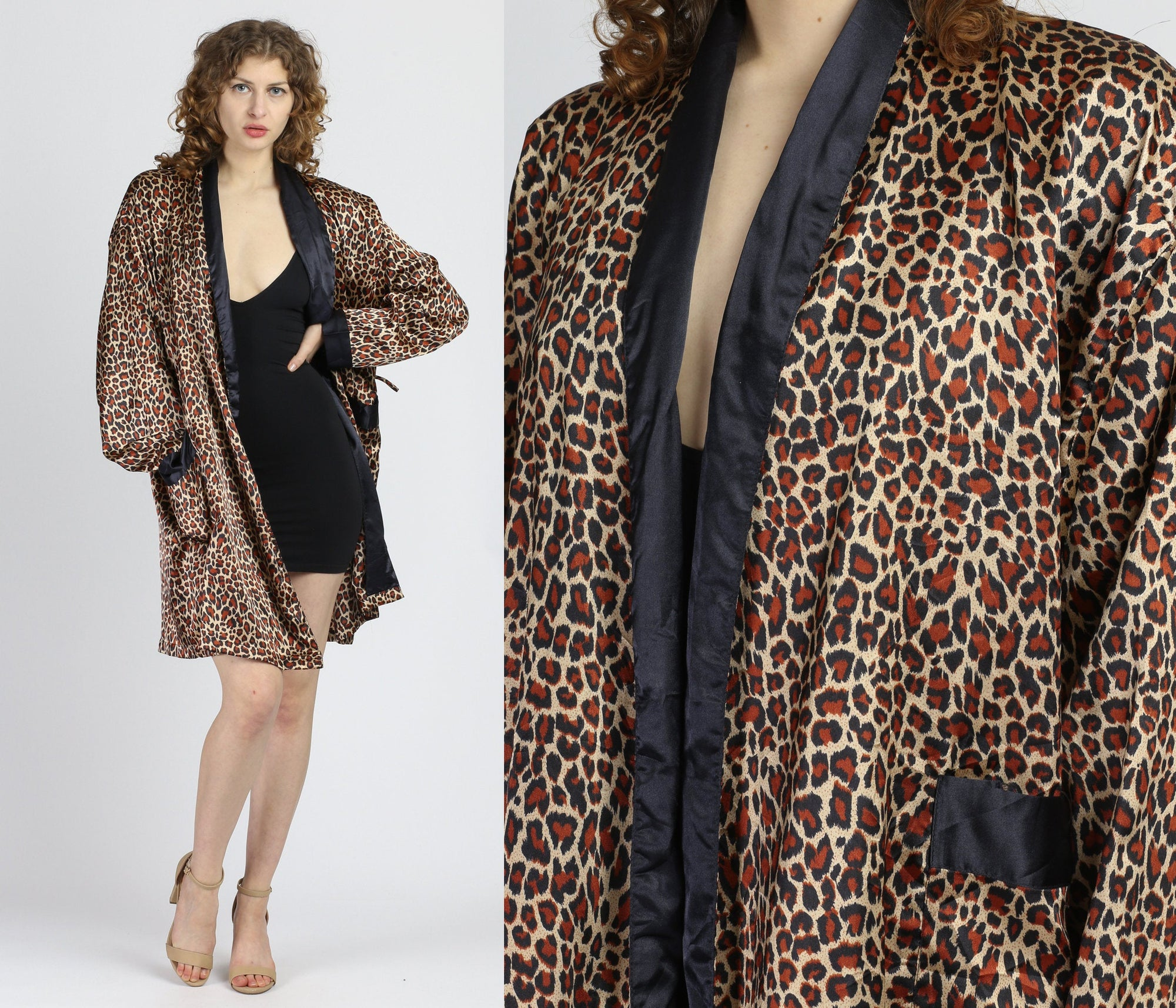Vintage Leopard Print Satin Robe - One Size
