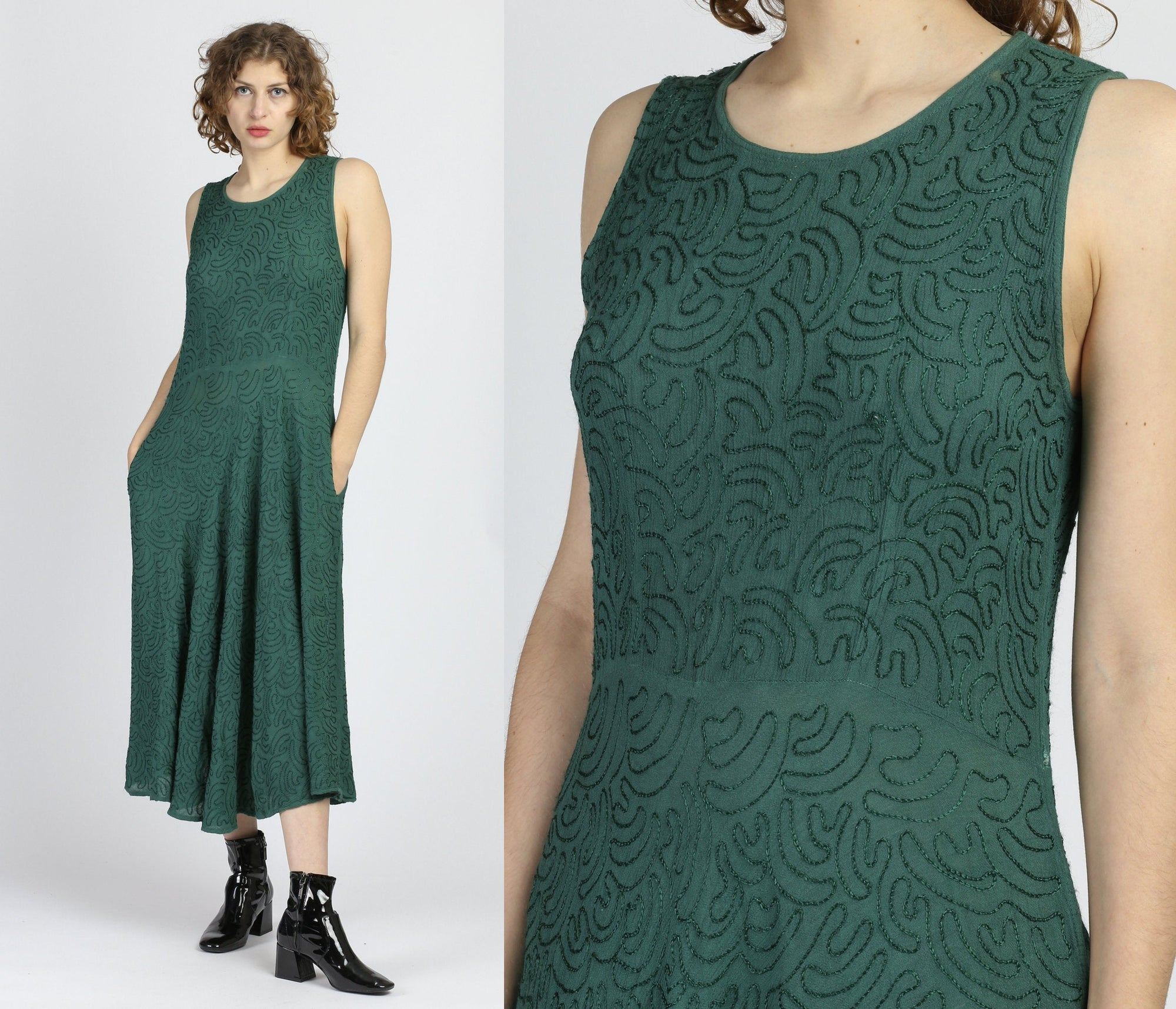 90s Boho Green Embroidered Maxi Dress - One Size
