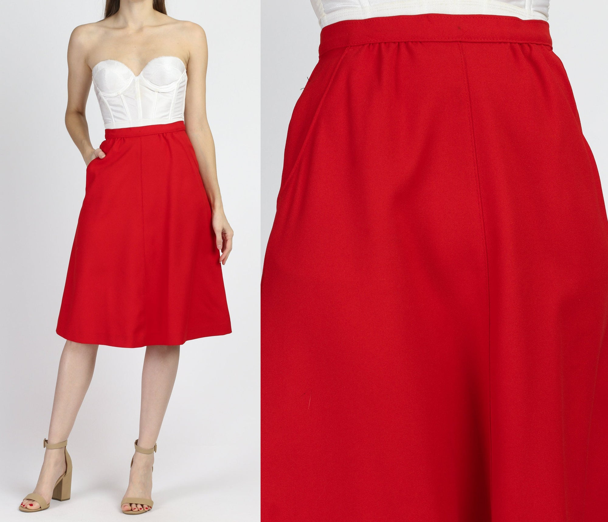 70s Red High Waist A Line Skirt - Small