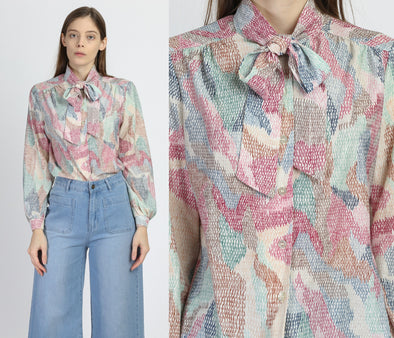 Vintage Abstract Print Ascot Tie Blouse - Large