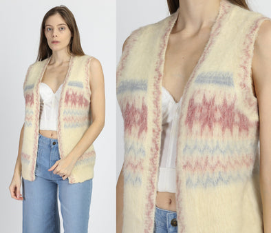 Vintage Icelandic Wool Cardigan Vest - Medium
