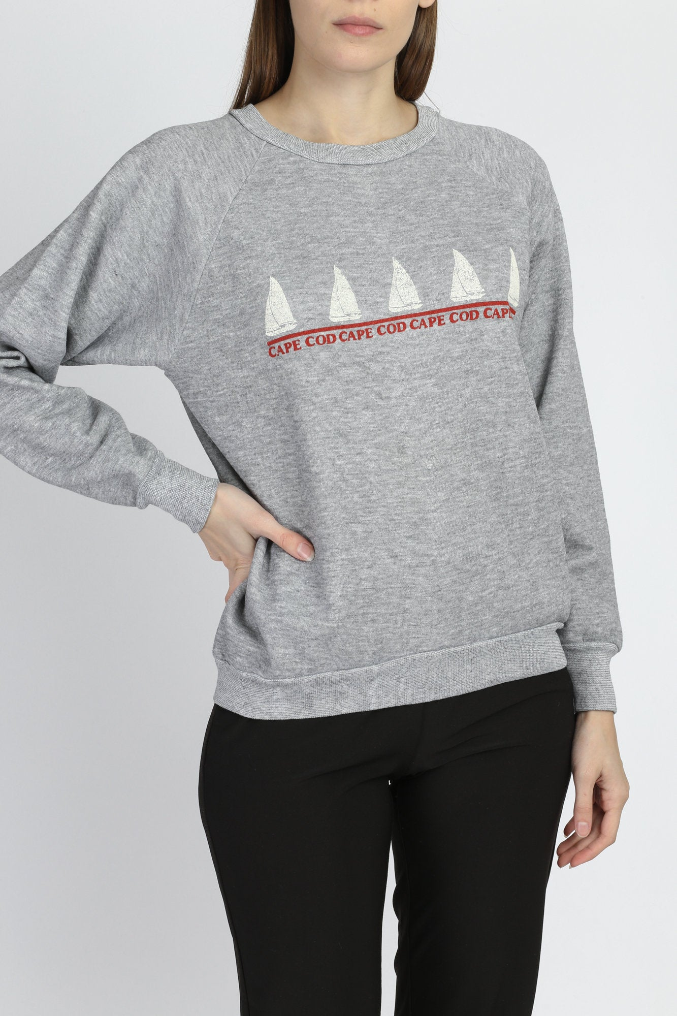 80s Cape Cod Sail Boat Sweatshirt - Medium
