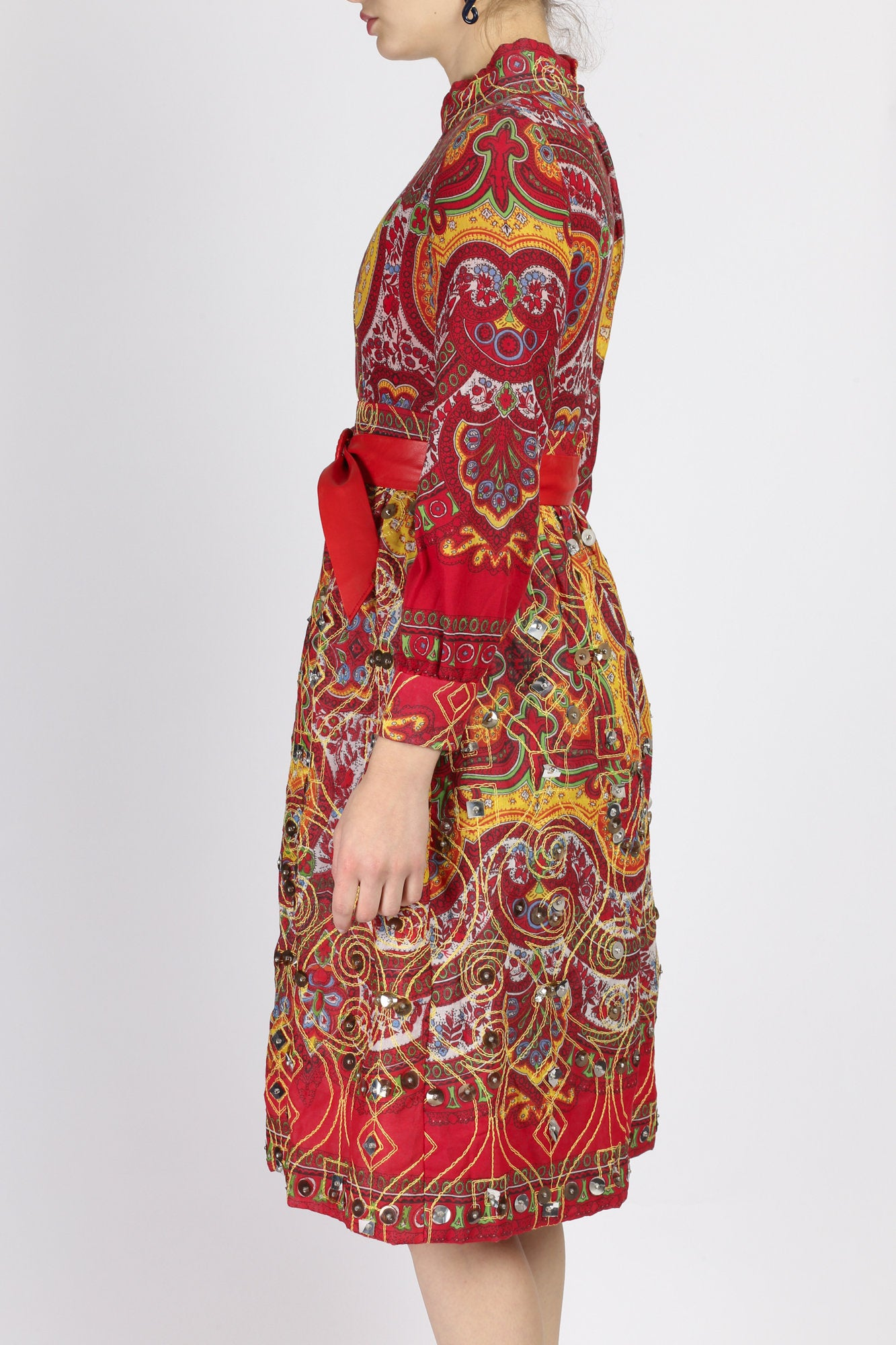 Vintage Afghan Indian Red Embroidered Mirror Work Dress - Extra Small
