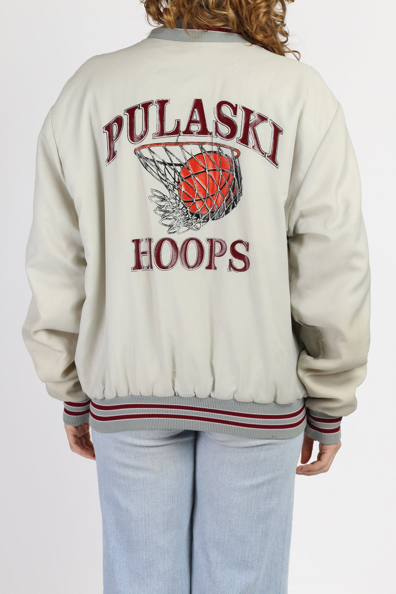 "80s ""Pulaski Hoops"" Basketball Varsity Jacket - Men's Large"