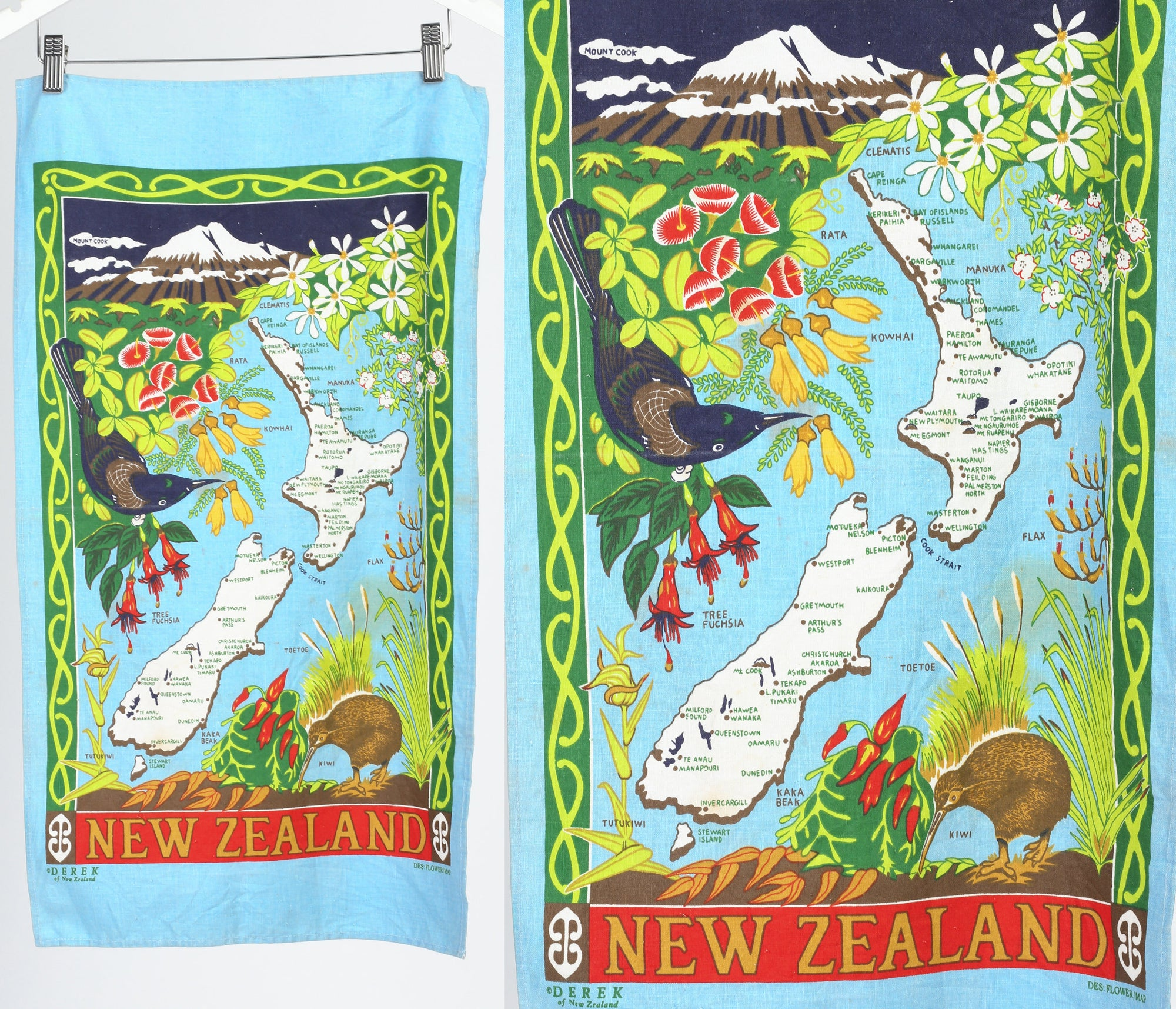 Vintage New Zealand Souvenir Linen Tea Towel