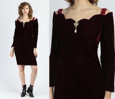 80s Scalloped Velvet Mini Dress - Medium
