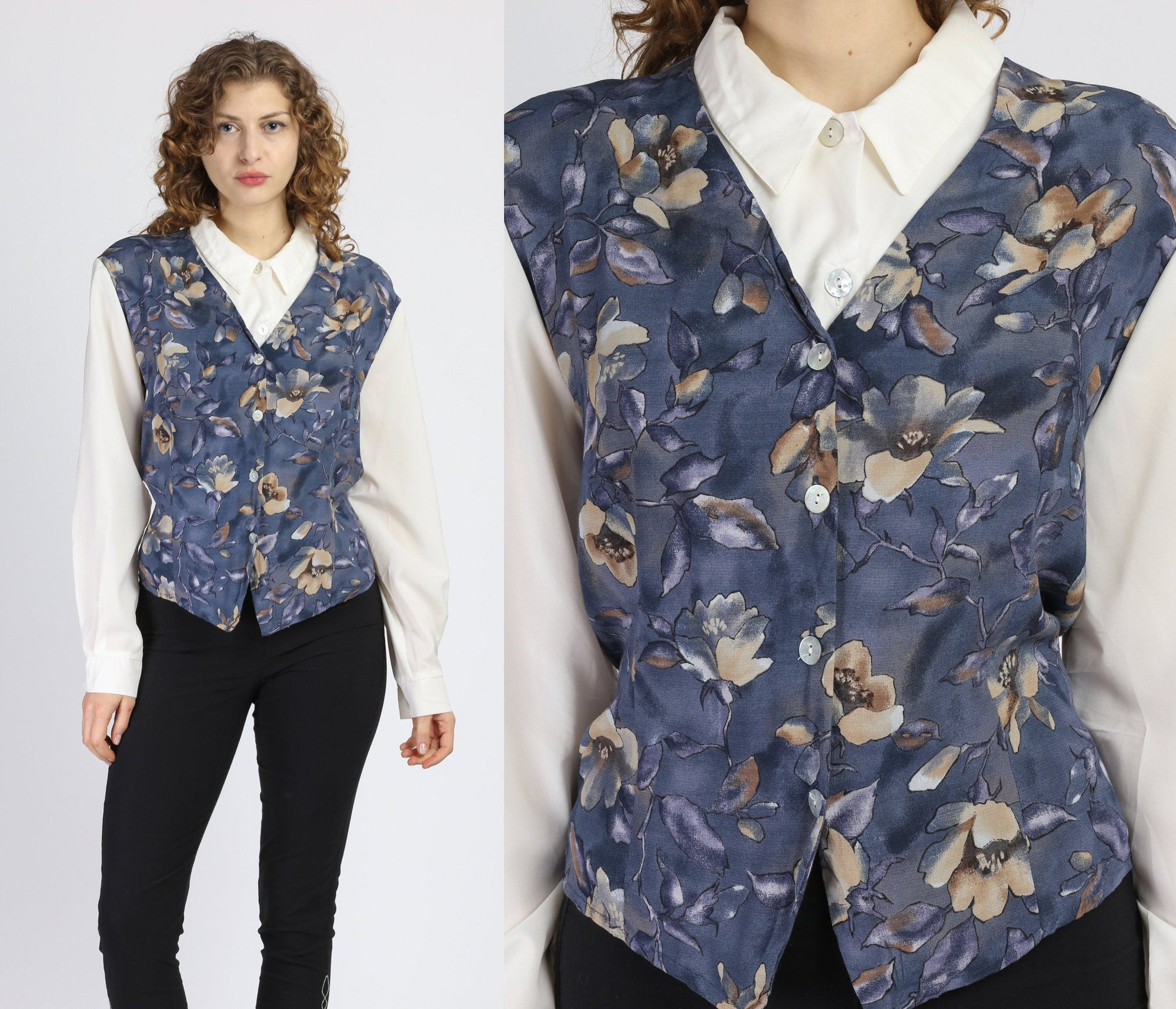 80s Floral Vest Combo Top - Extra Large