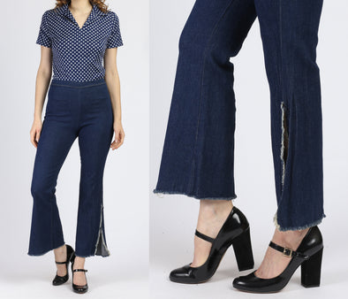 70s High Waisted Flared Side Slit Jeans - Medium