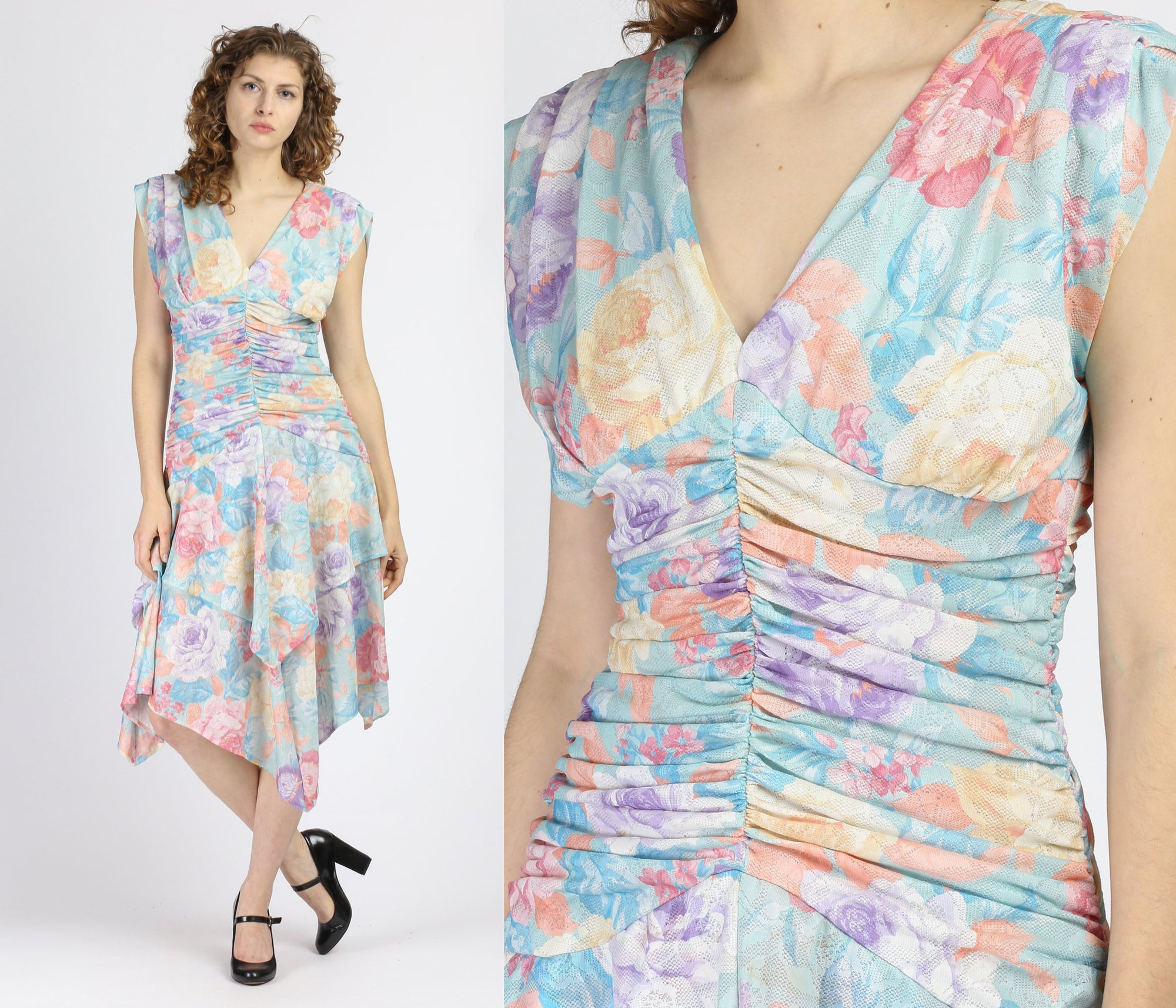 80s Pastel Floral Scarf Hem Dress - Medium
