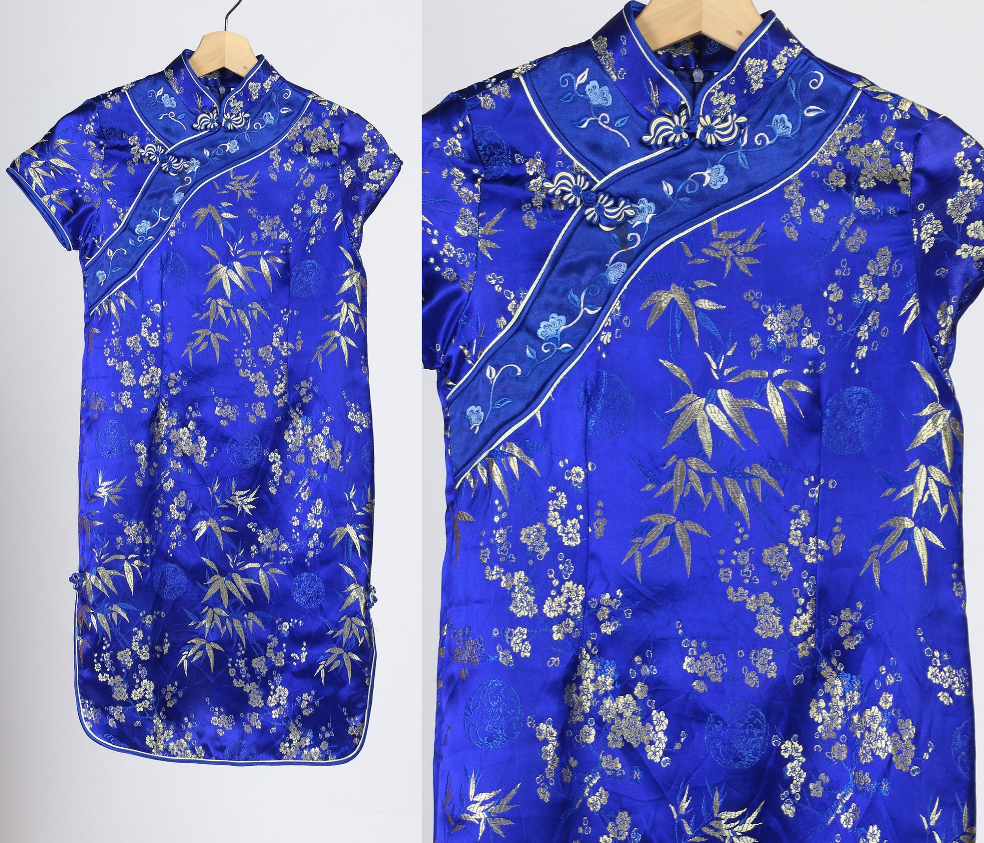 Vintage Blue Cheongsam Mini Dress - Girl's 14