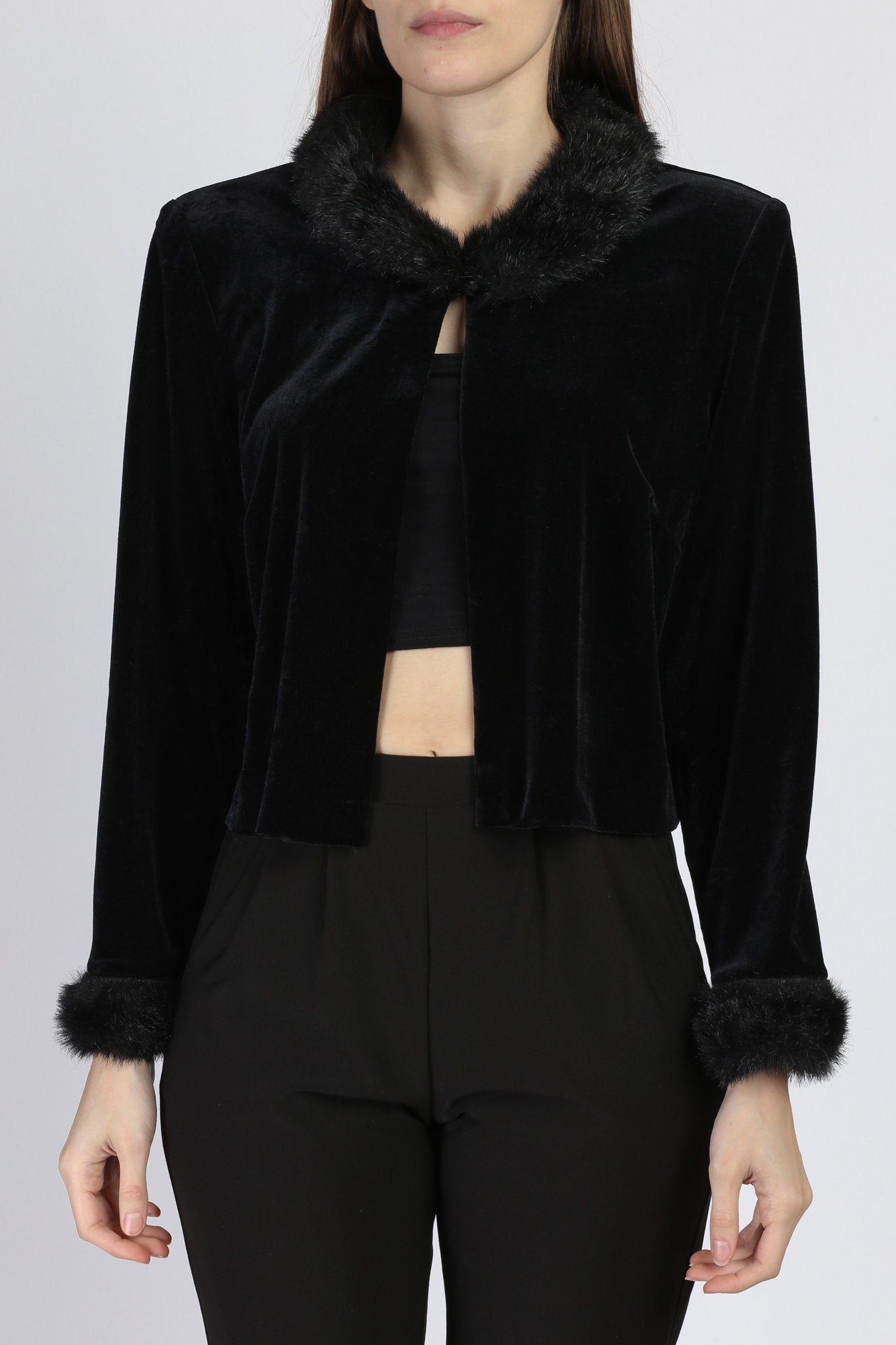 90s Black Velvet Fur Trim Crop Top - Large