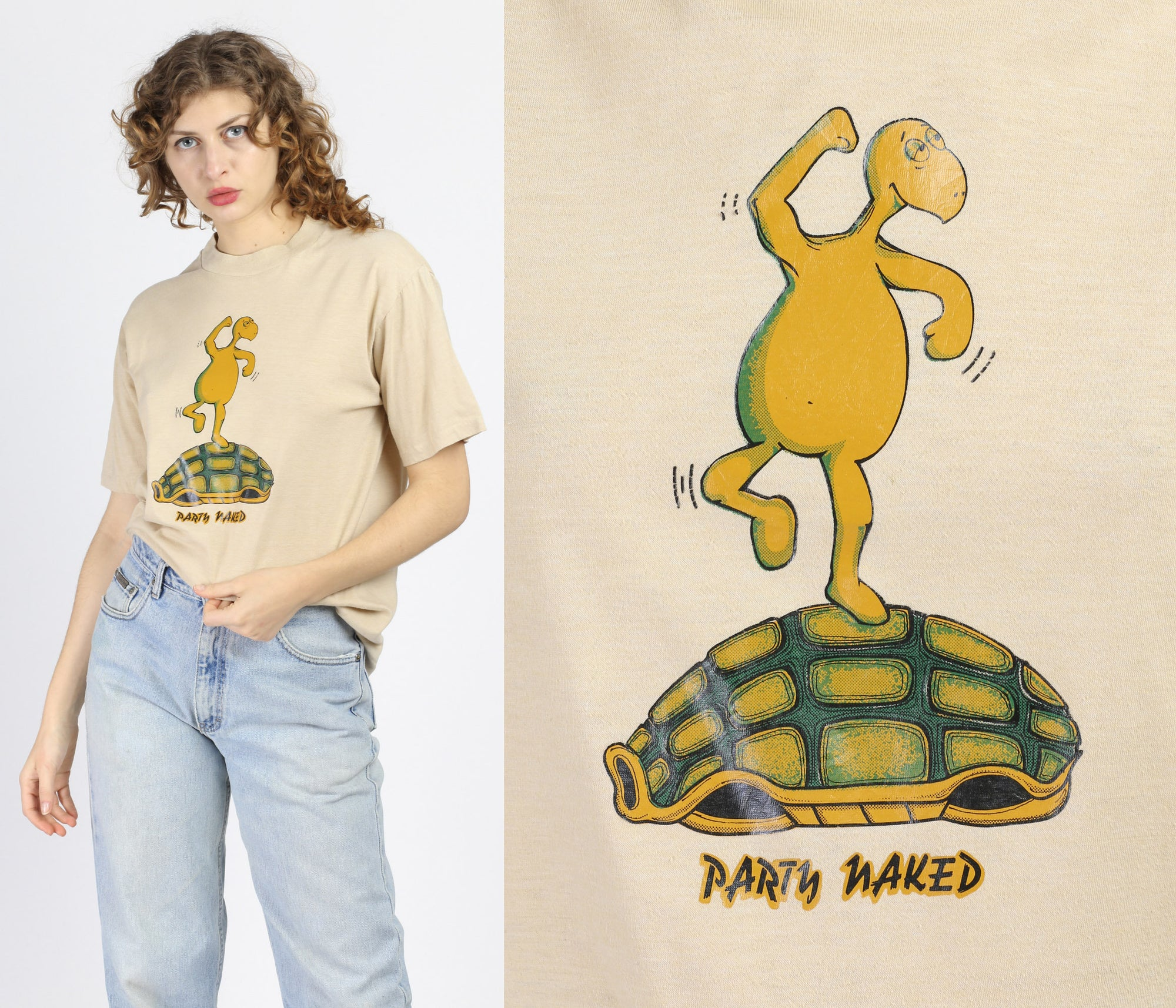 80s Party Naked Tortoise Graphic Tee - Extra Large