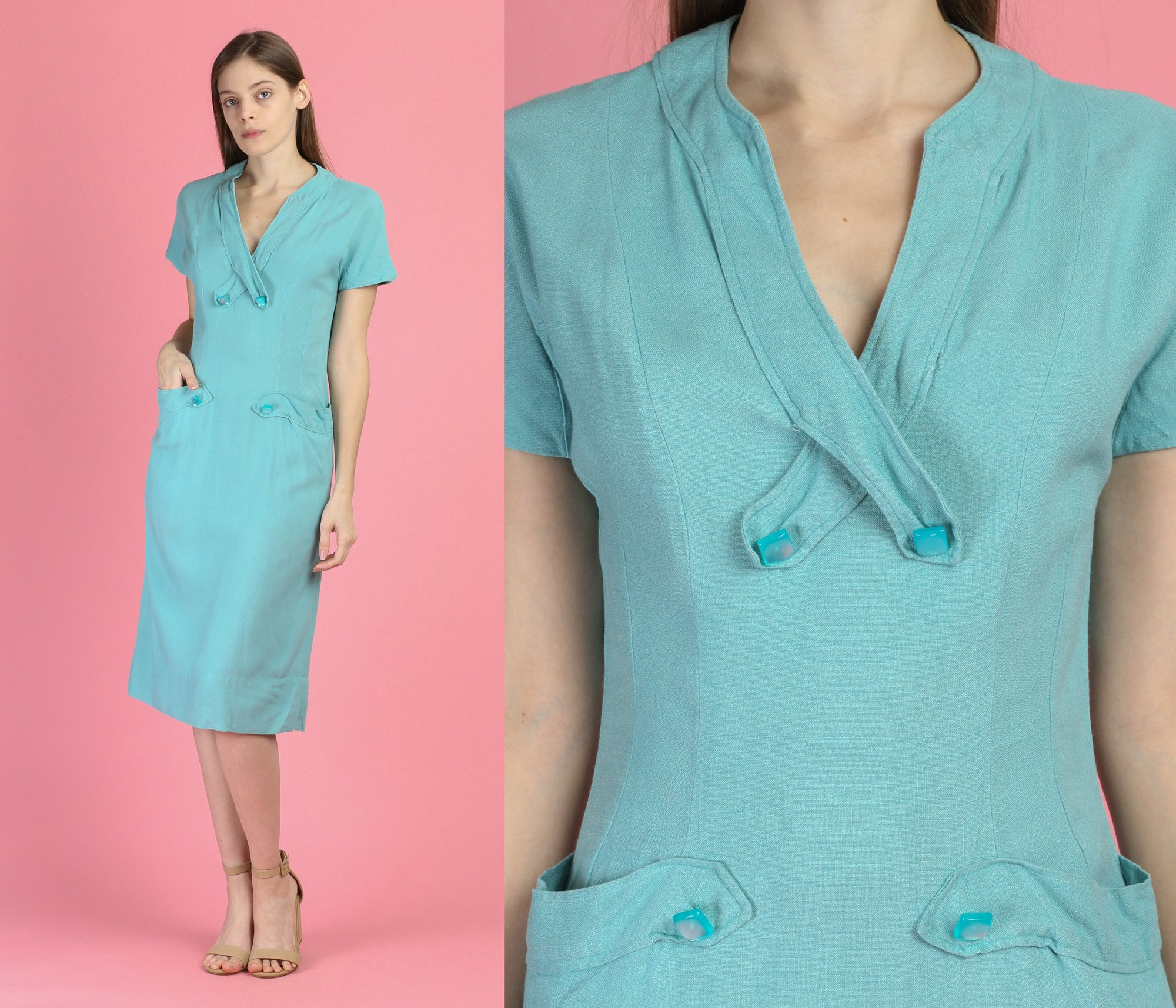 1940s Turquoise Blue Midi Dress - Medium