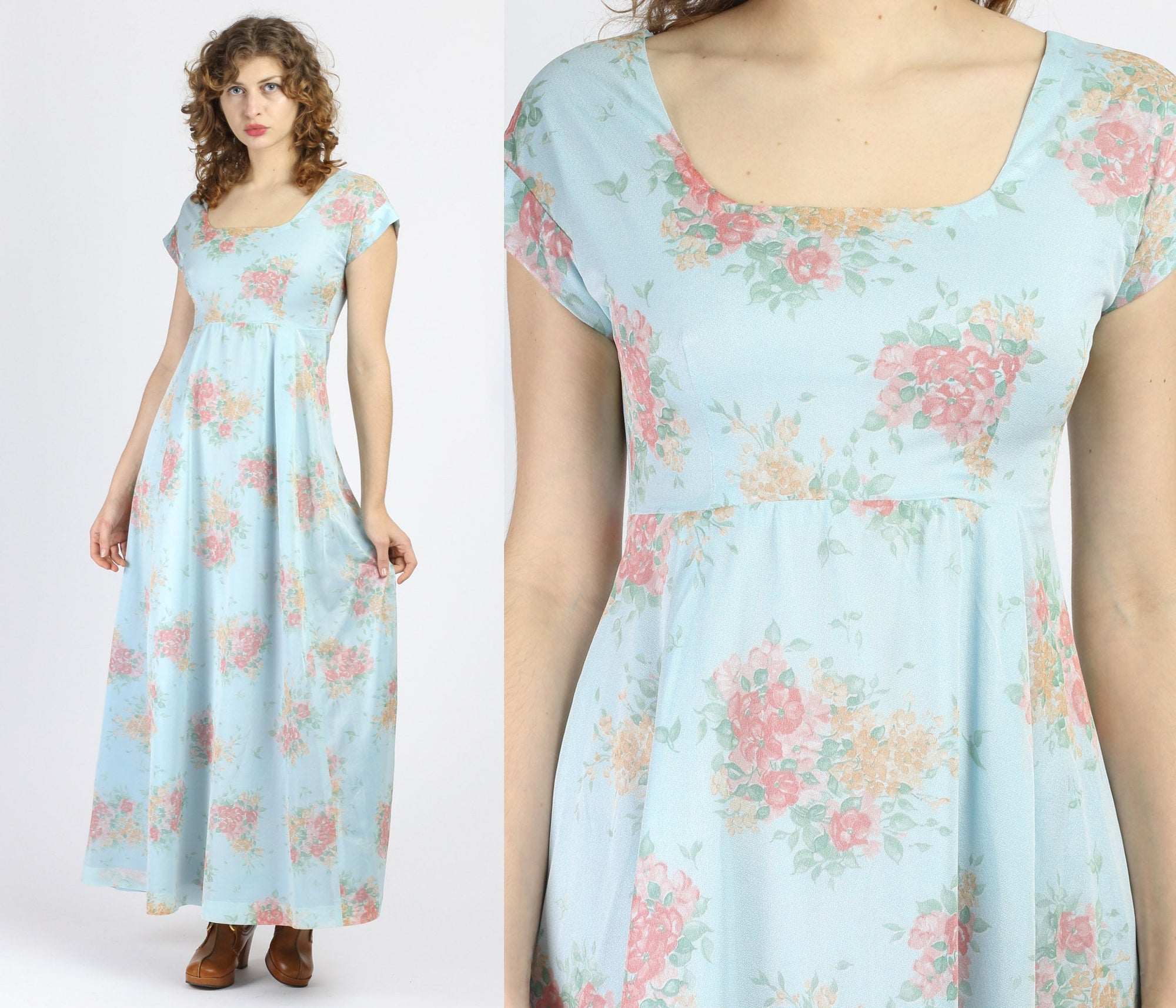 70s Boho Blue Floral Maxi Dress - Small