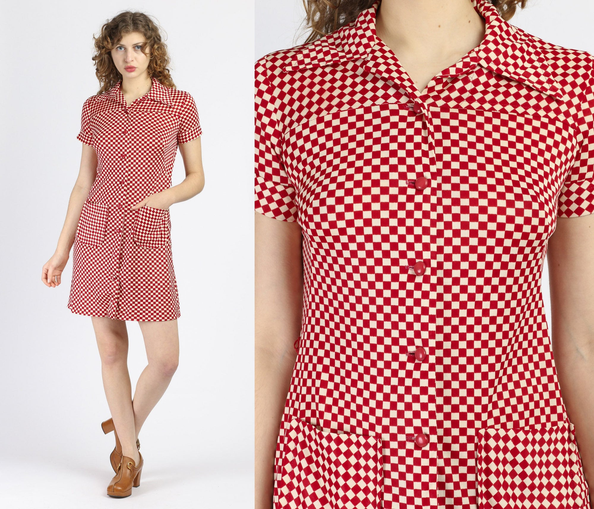 70s Button Up Checkered Mini Dress - Small