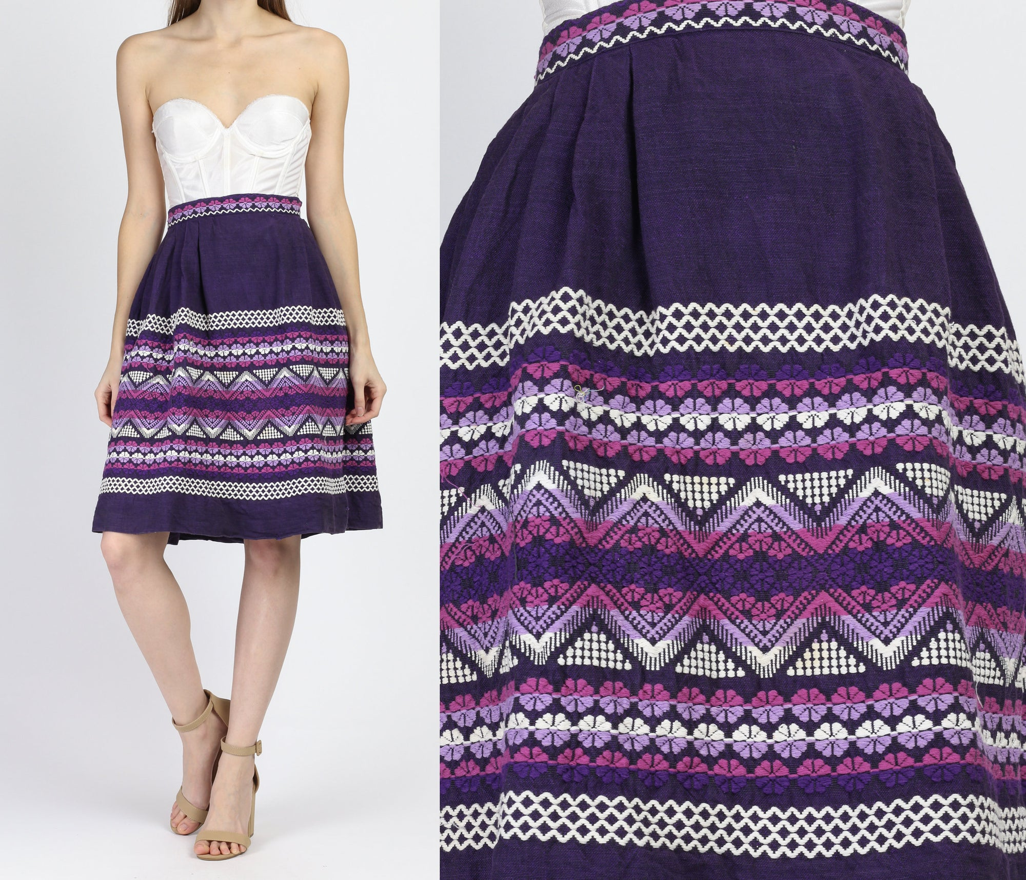 Vintage 60s Guatemalan Purple Woven Skirt - Extra Small