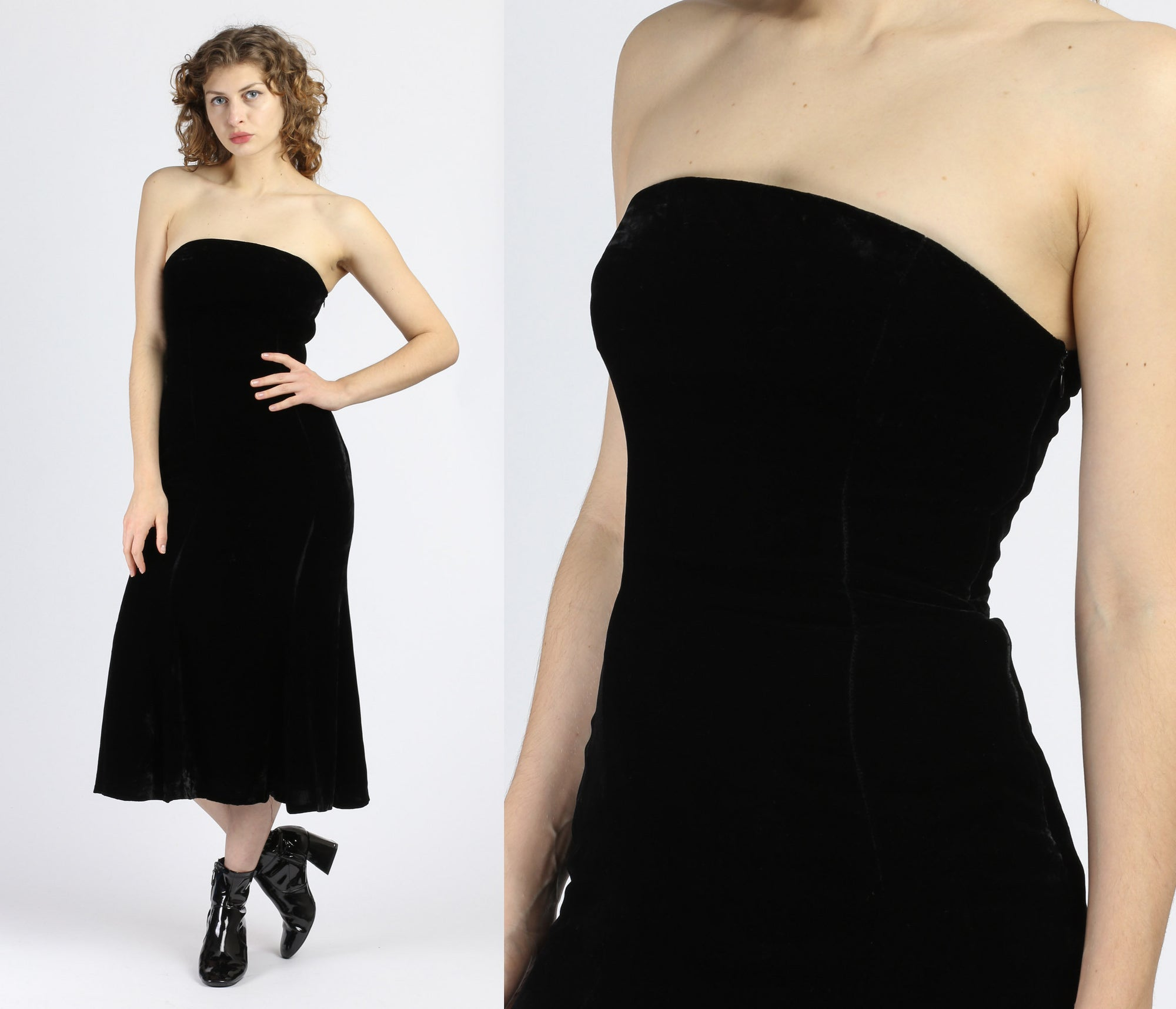90s Ralph Lauren Black Velvet Dress - Small