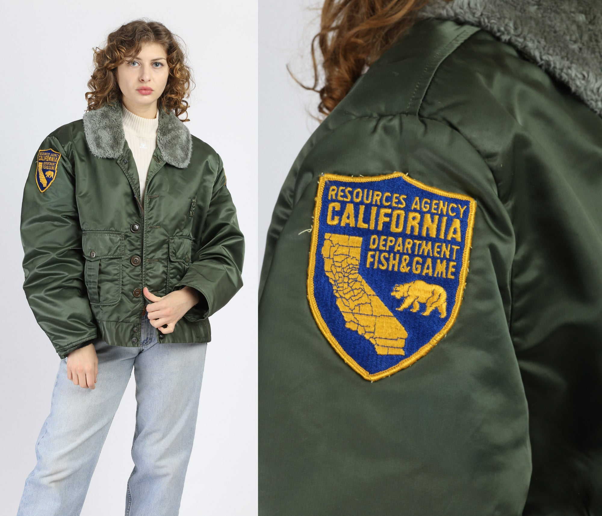 Vintage 70s 80s California Fish & Game Bomber Jacket - Extra Large