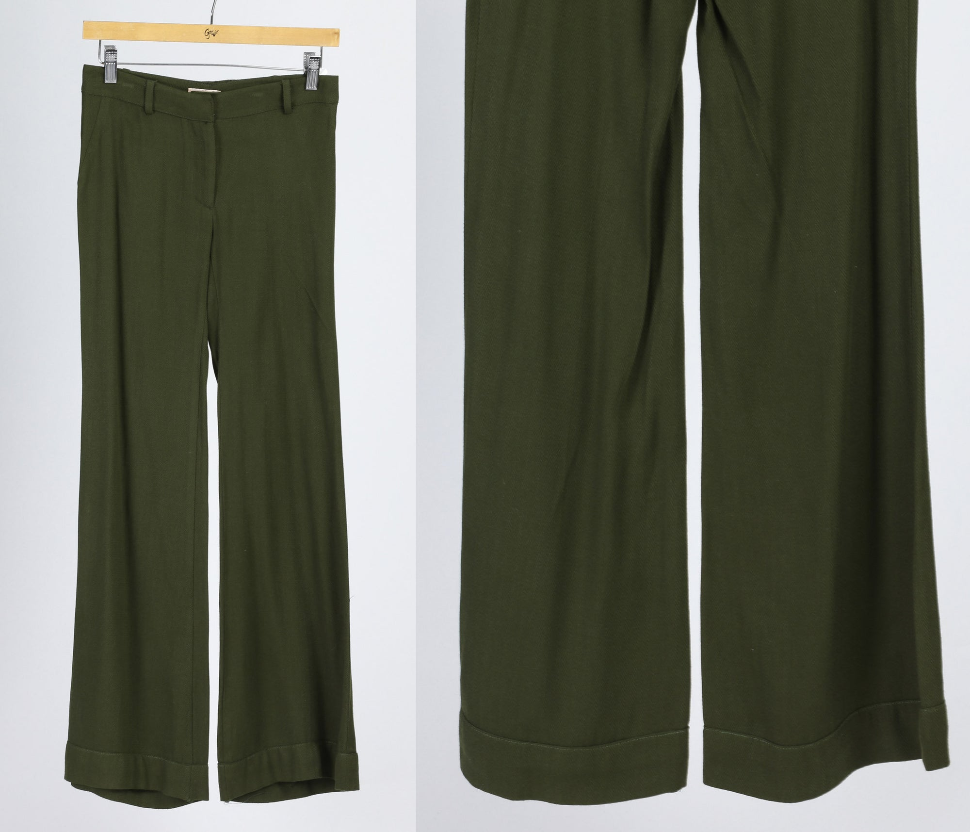 Vintage Olive Green Flared Pants - Extra Small