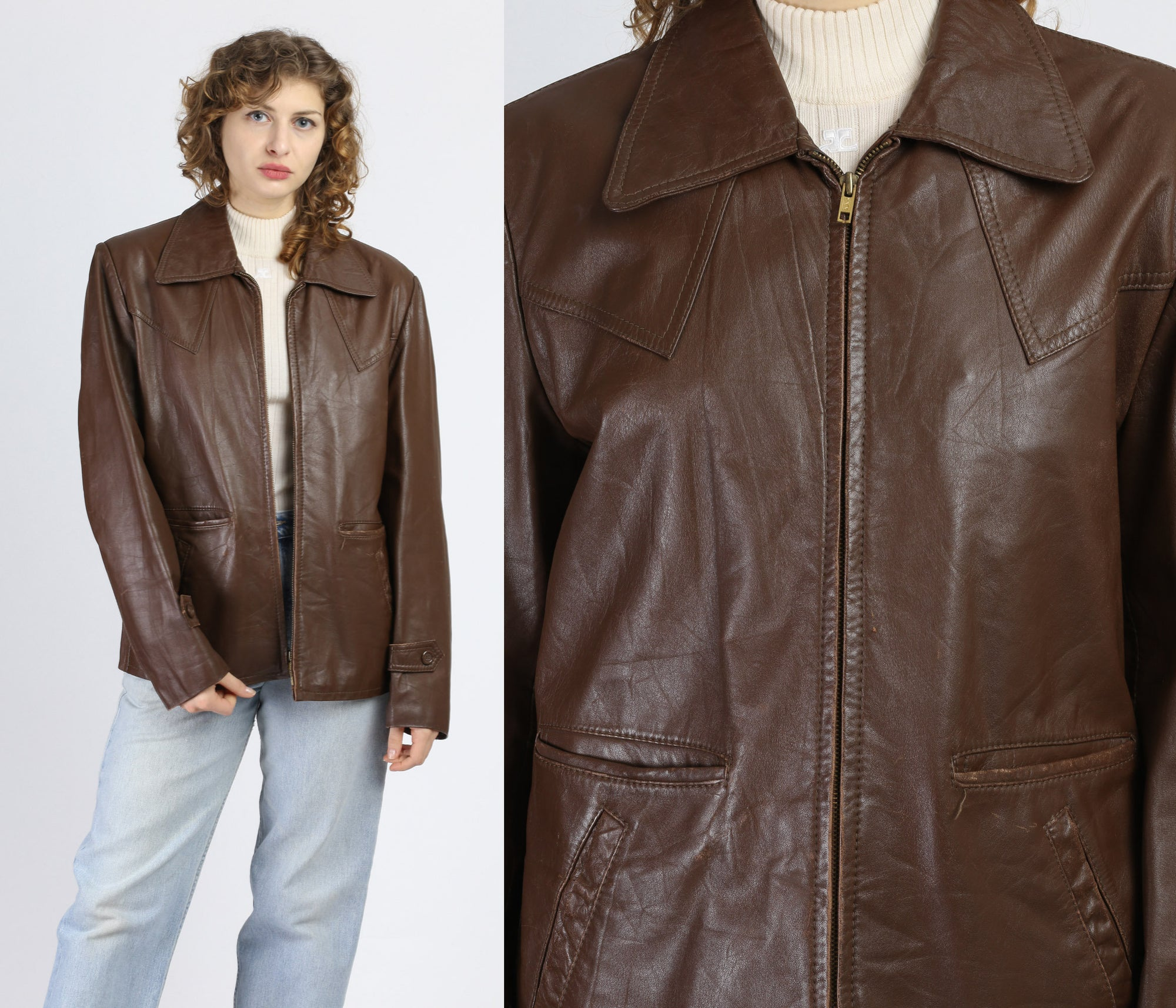 80s Brown Leather Jacket - Size 44