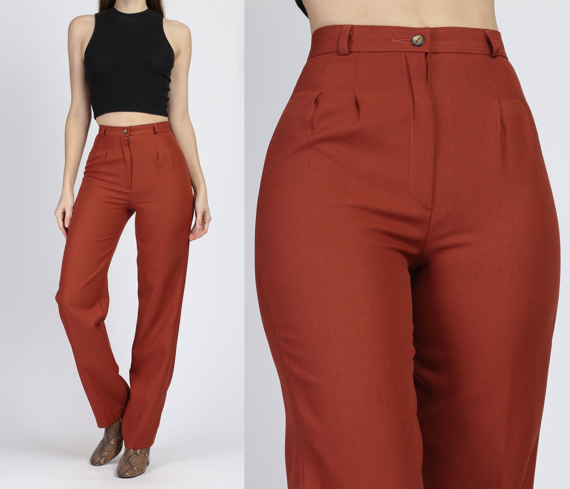 70s Rust Red High Waist Pants - Extra Small, 24""