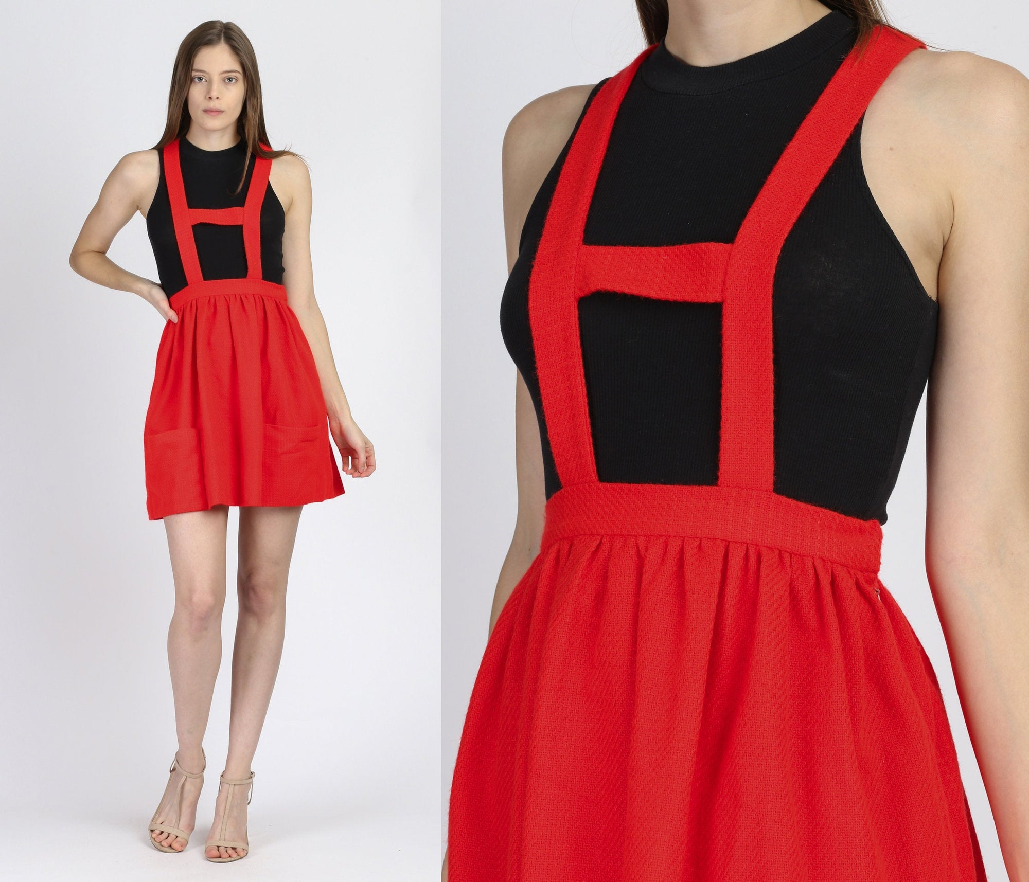 60s Red Pinafore Mini Dress - Extra Small