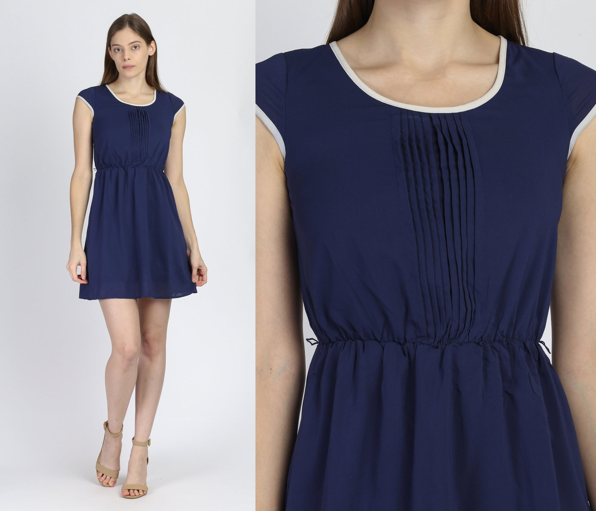 Retro Navy Blue Mini Dress - Petite XS