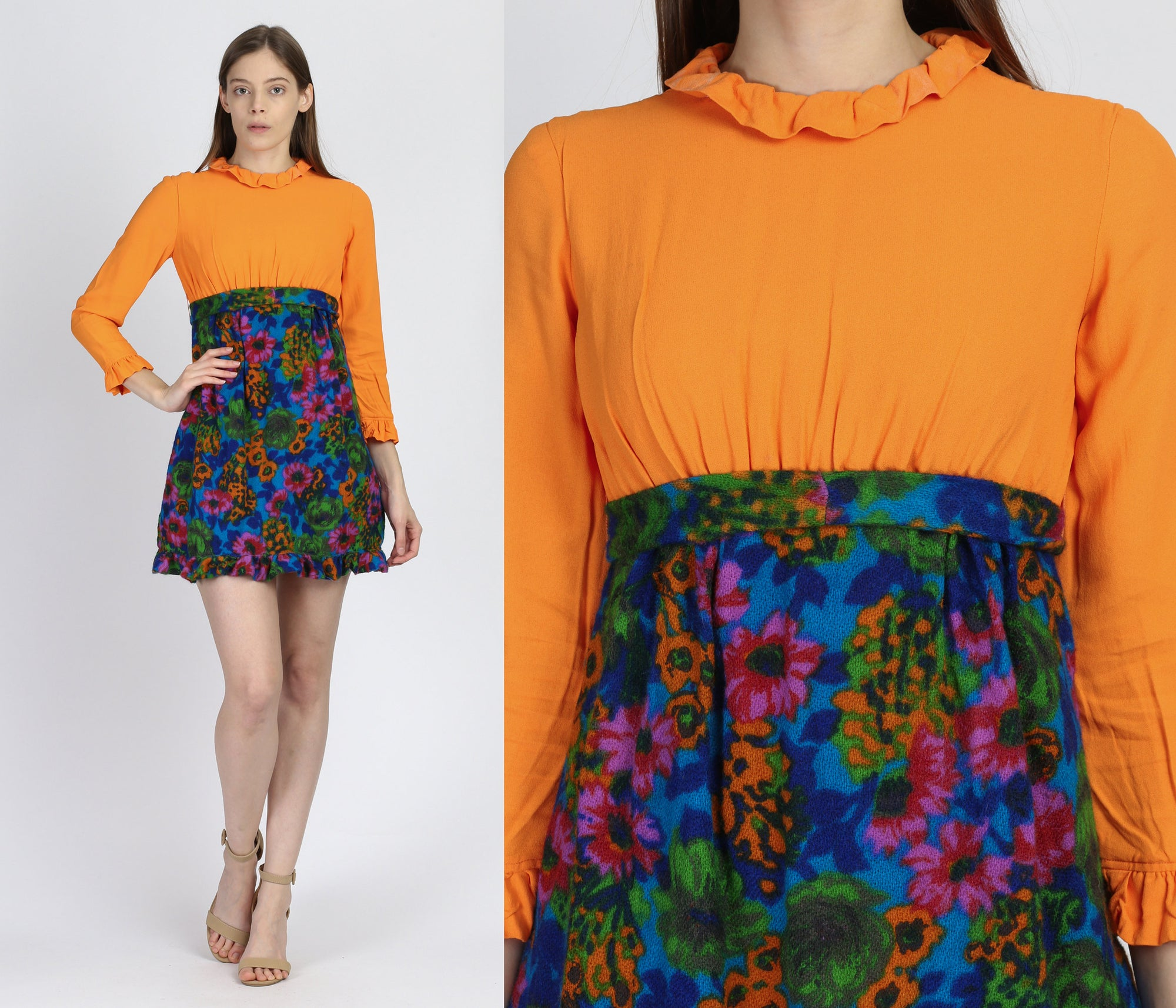 60s Orange Floral Mini Dress - Extra Small