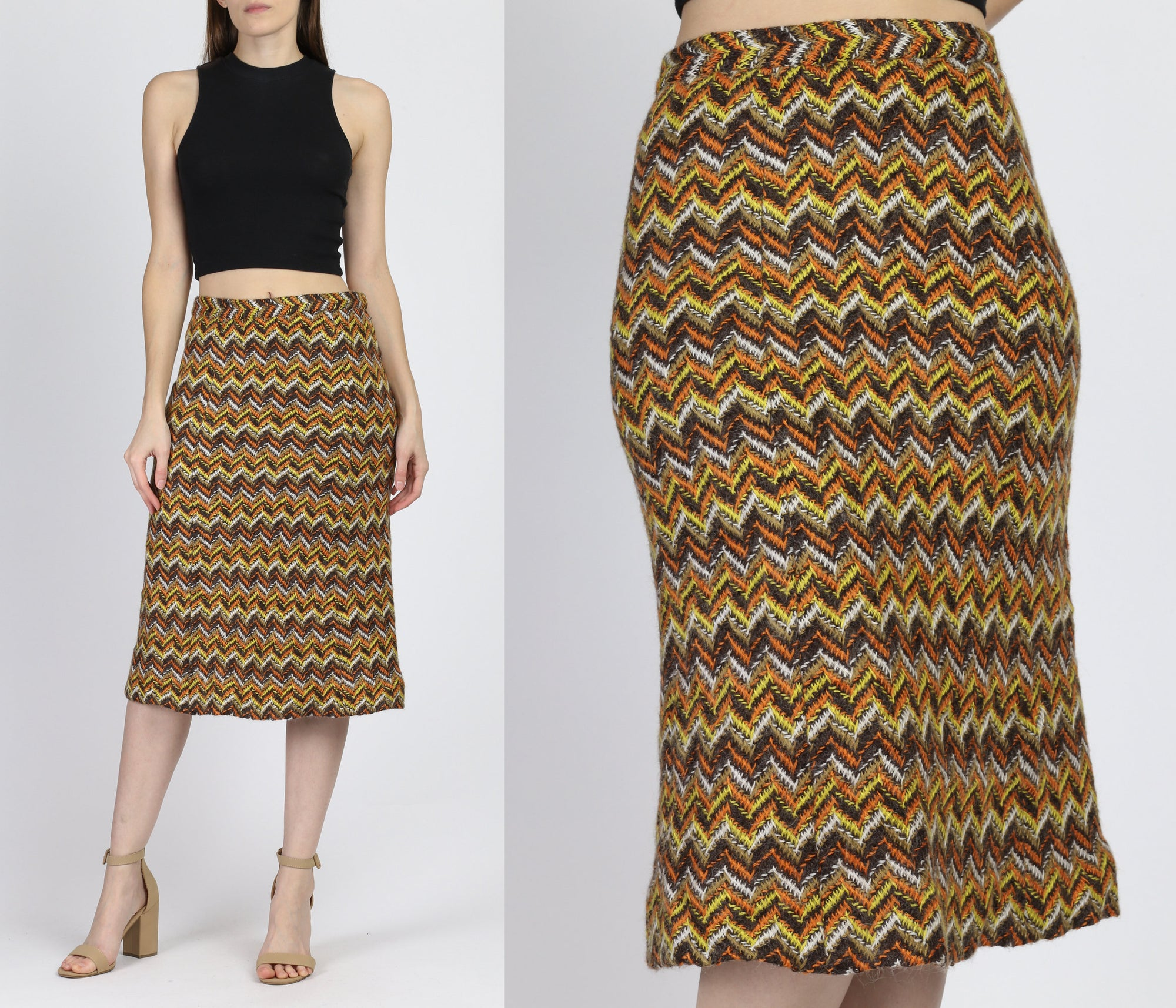 Retro 70s Zig Zag Knit Skirt - Medium