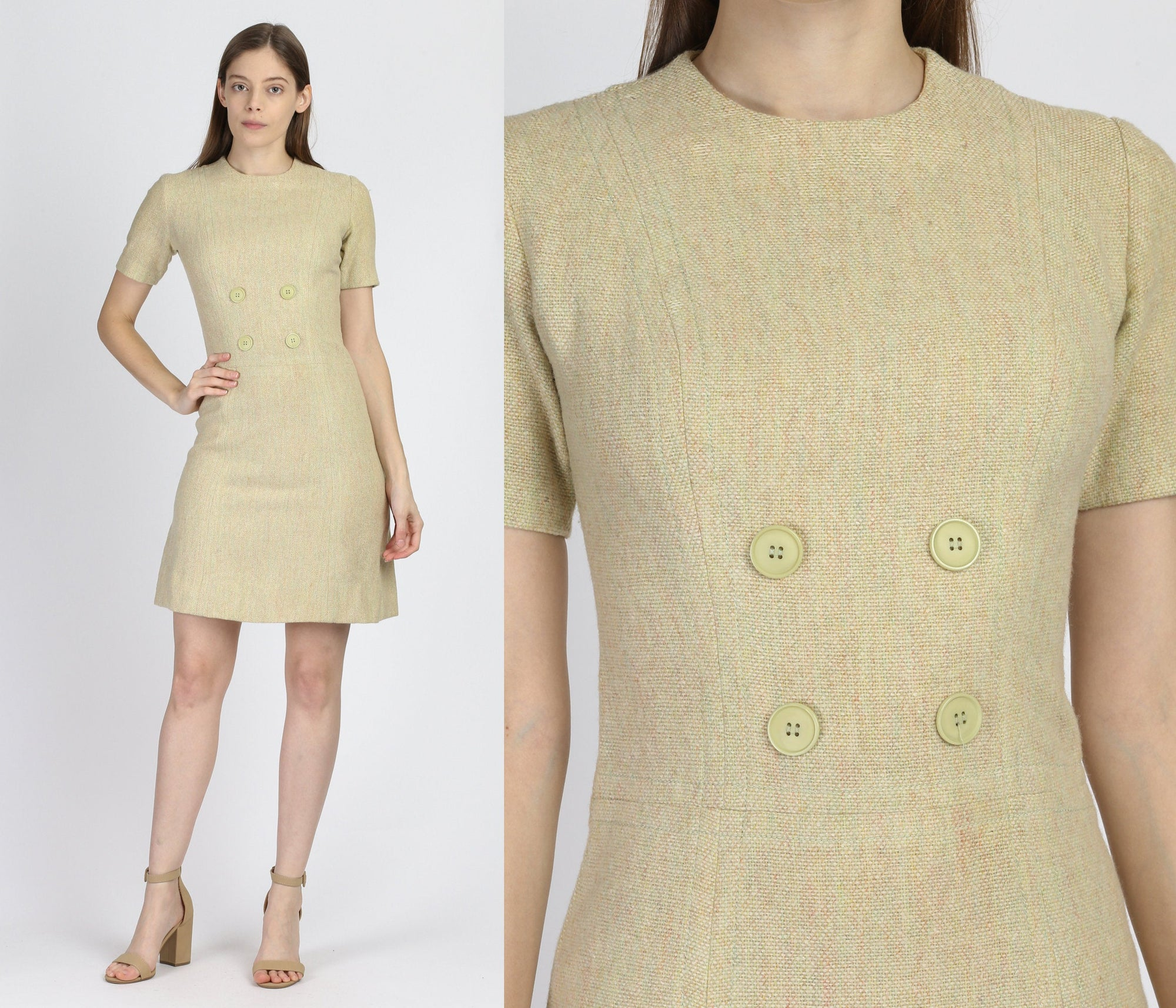 60s Bobbie Brooks Mod Wool Mini Dress - Extra Small