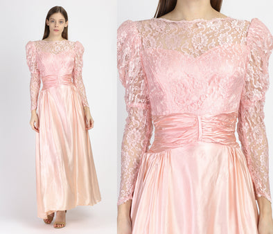 80s Pink Satin Satin & Lace Party Dress - Extra Small