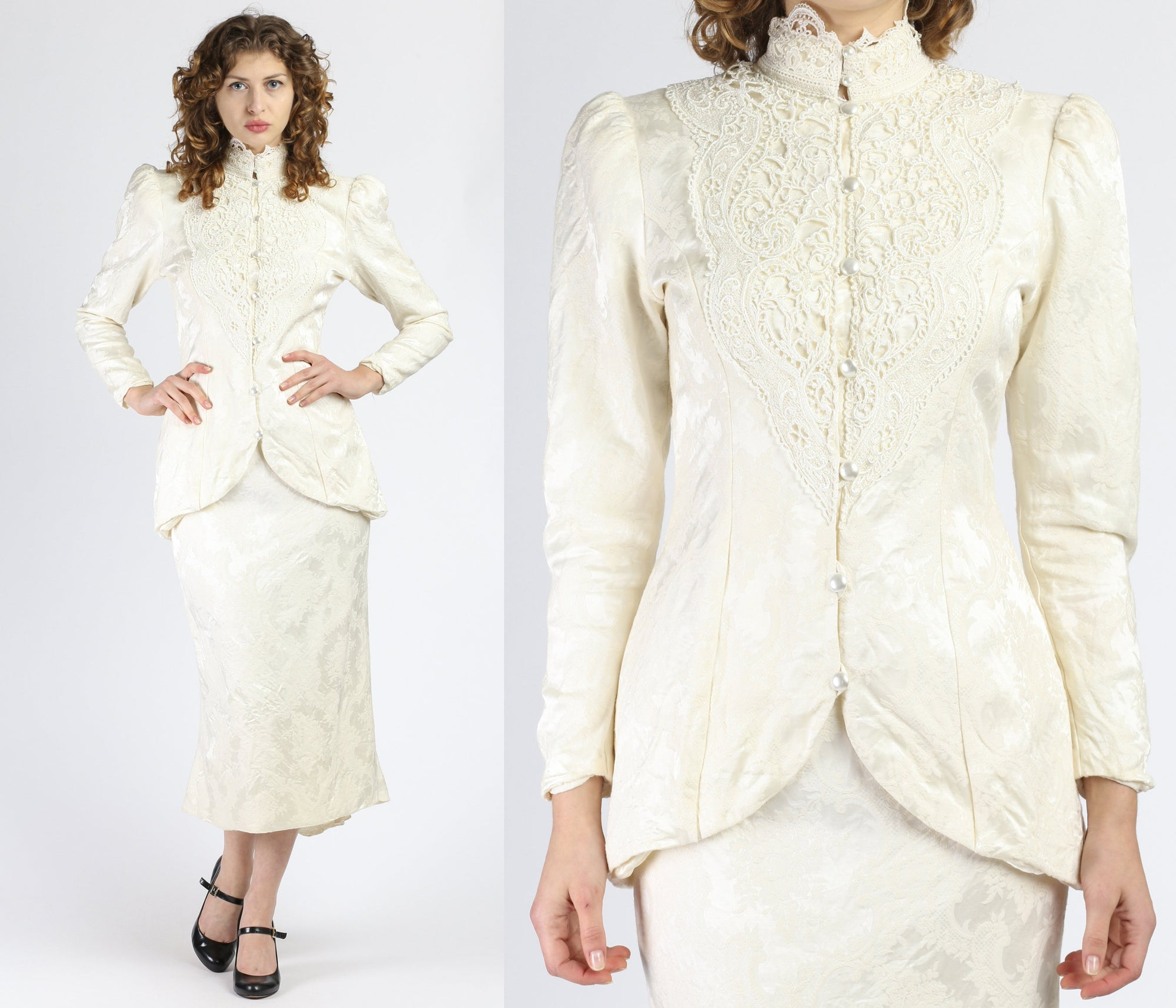 80s Jessica McClintock Ivory Jacquard Skirt Suit Set - XS to Small