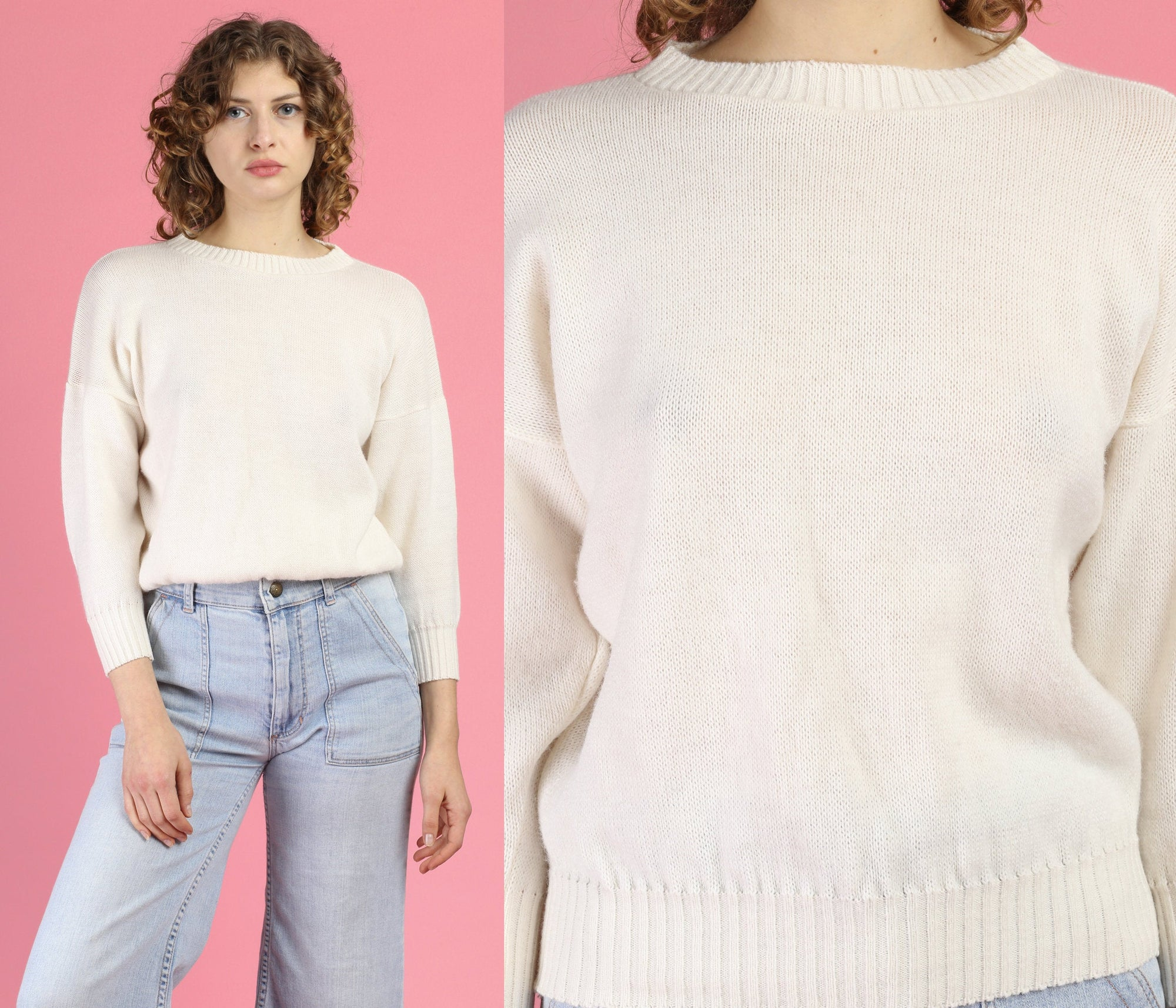 70s Cropped Cream Knit Sweater - Extra Small to Petite Small