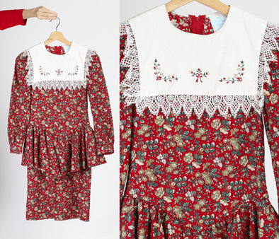 80s Girl's Red Floral Bib Collar Mini Dress - Size 12