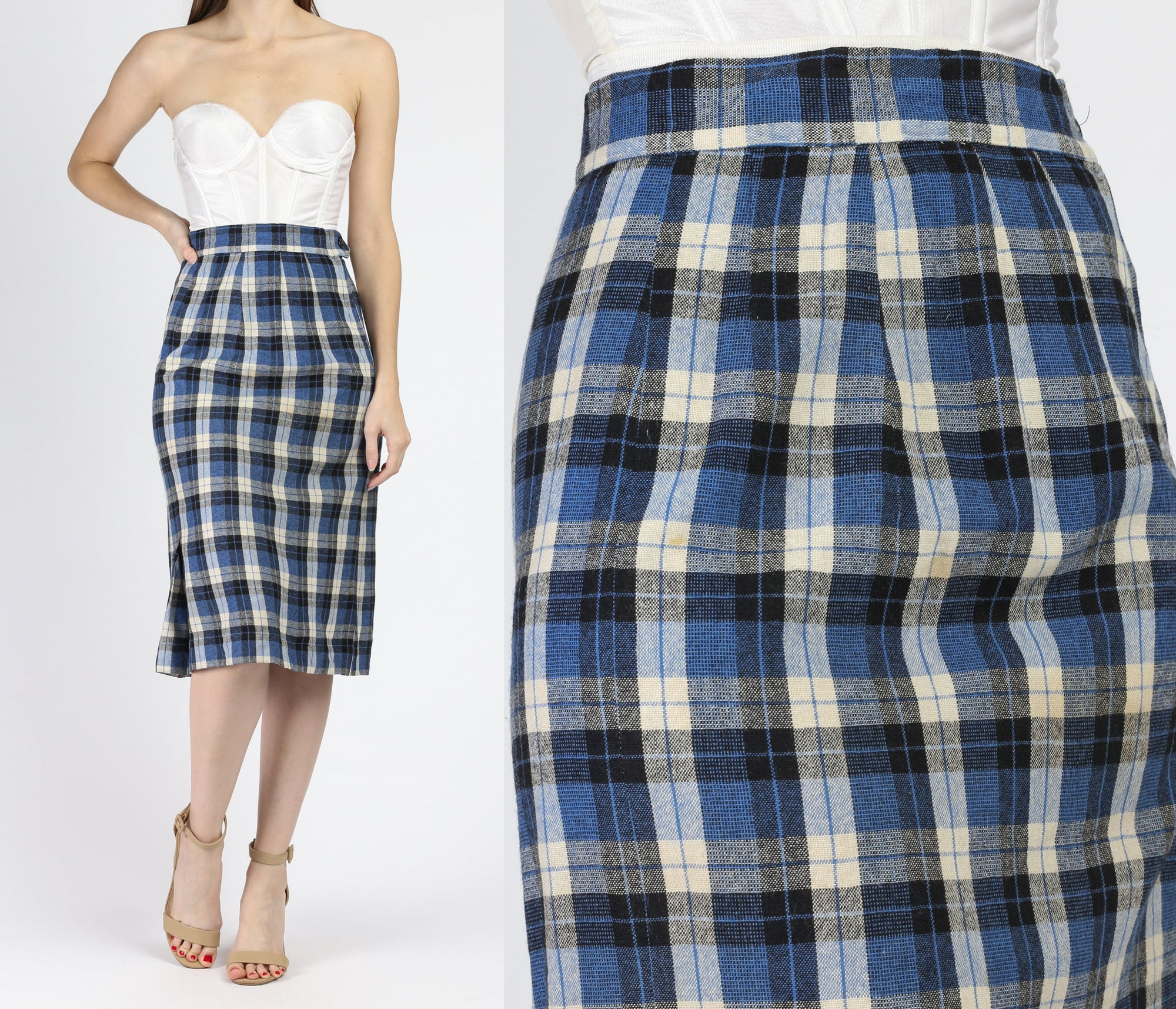 1950s Blue Plaid Pencil Skirt - Small
