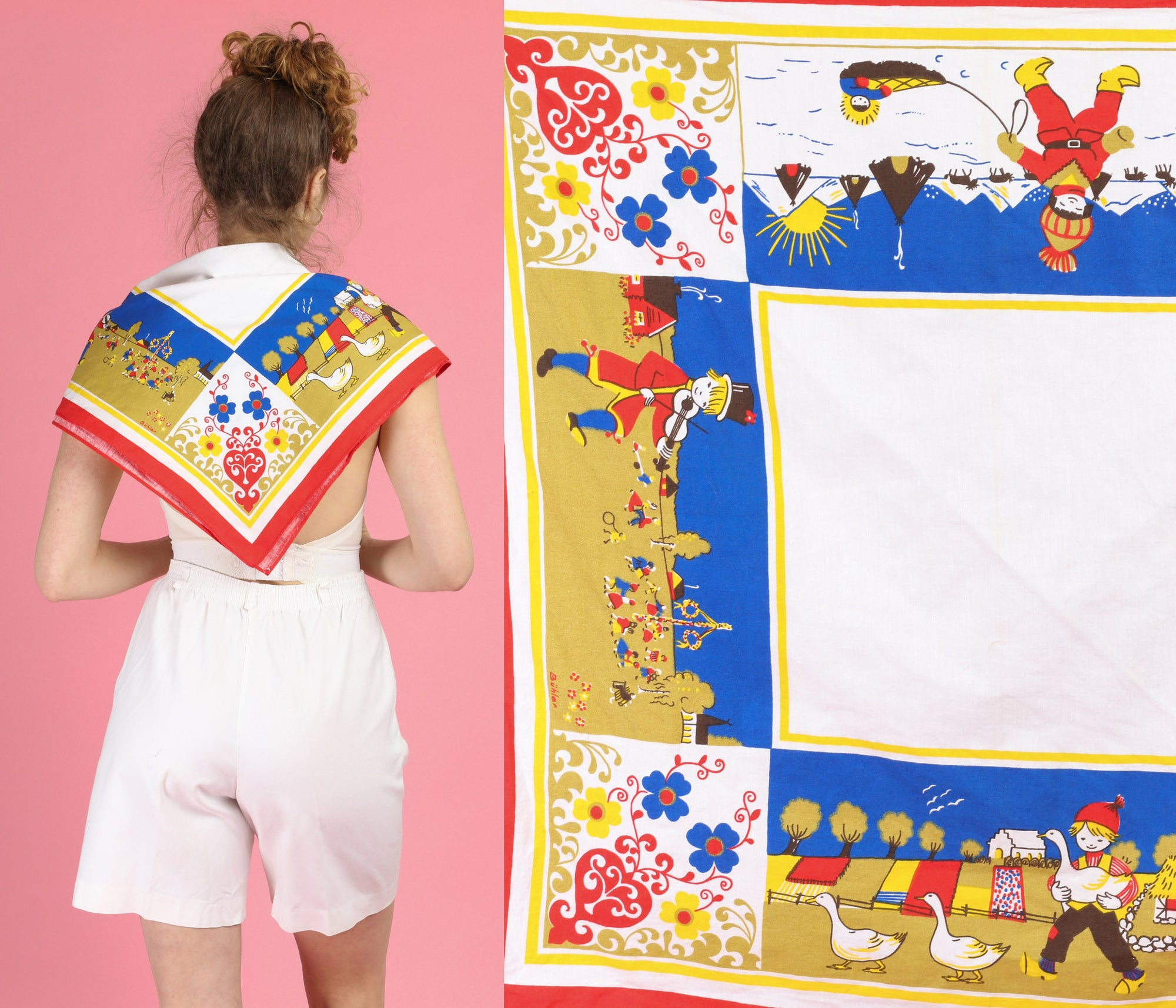 Vintage Kitsch European Folk Motif Square Tea Towel