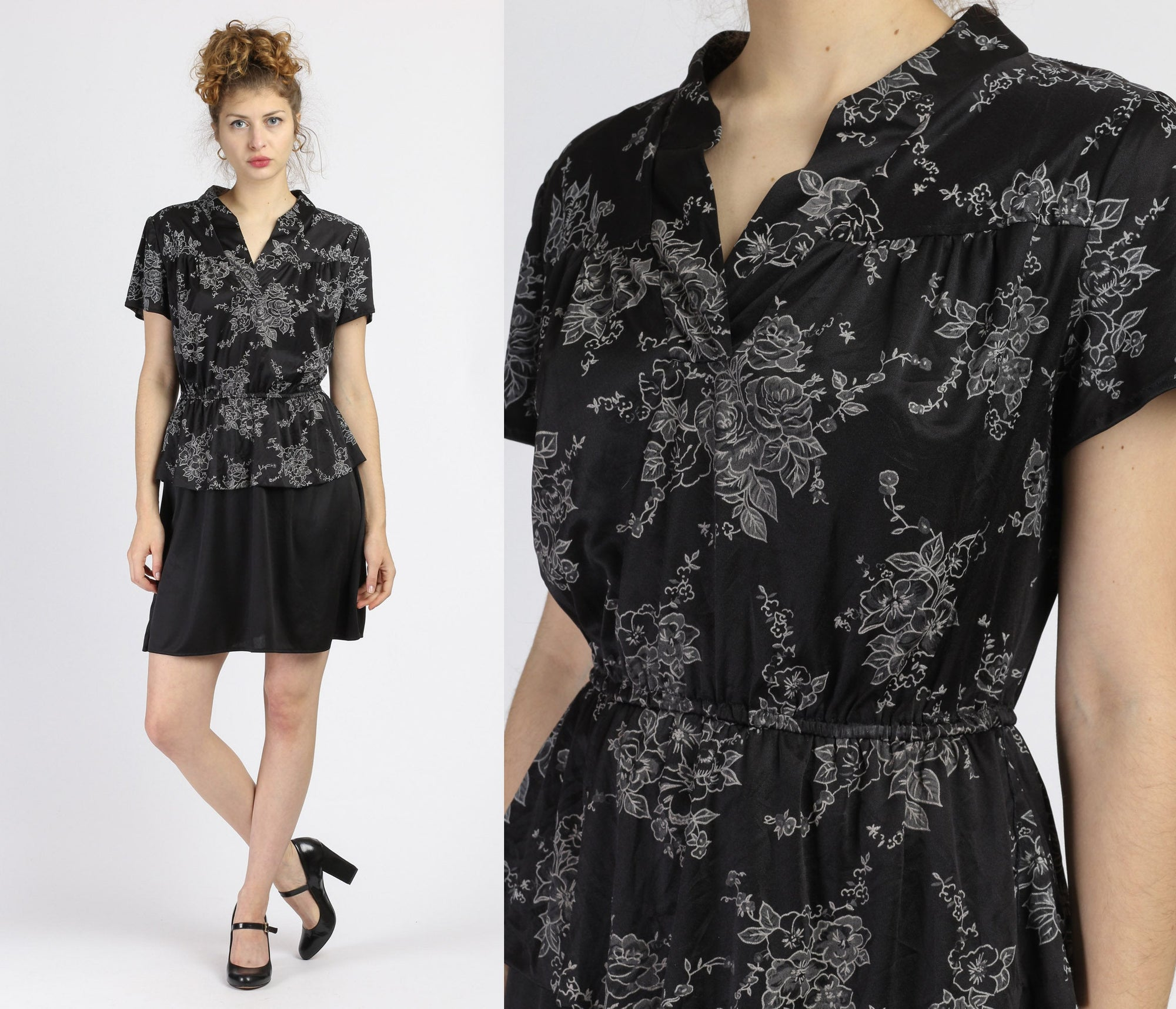 70s Black Floral Peplum Mini Dress - Medium