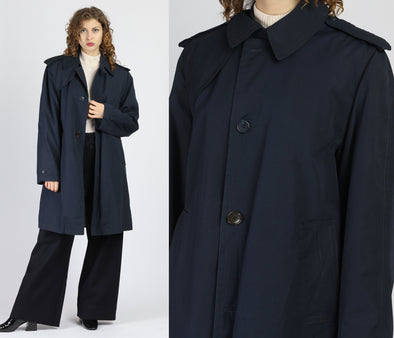70s 80s Navy Blue Overcoat - Men's Medium