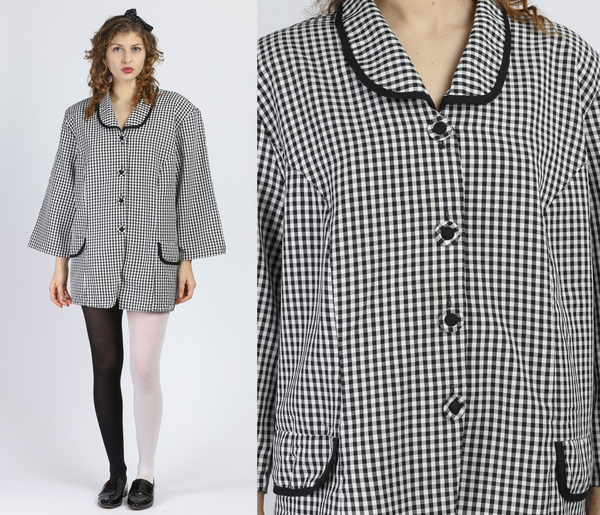 80s Black & White Gingham Oversize Top - 3X