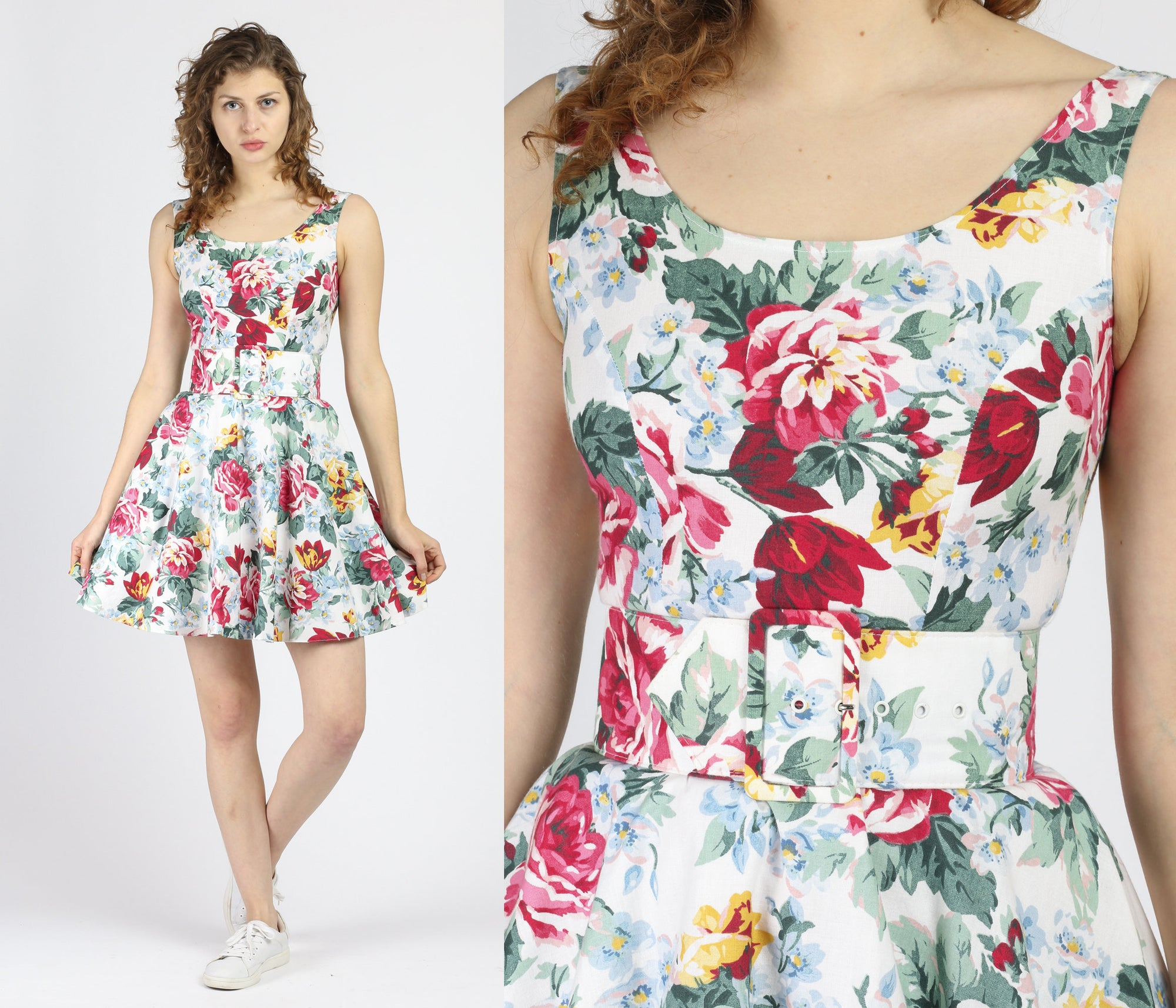 Vintage Floral Belted Fit & Flare Mini Dress - Extra Small