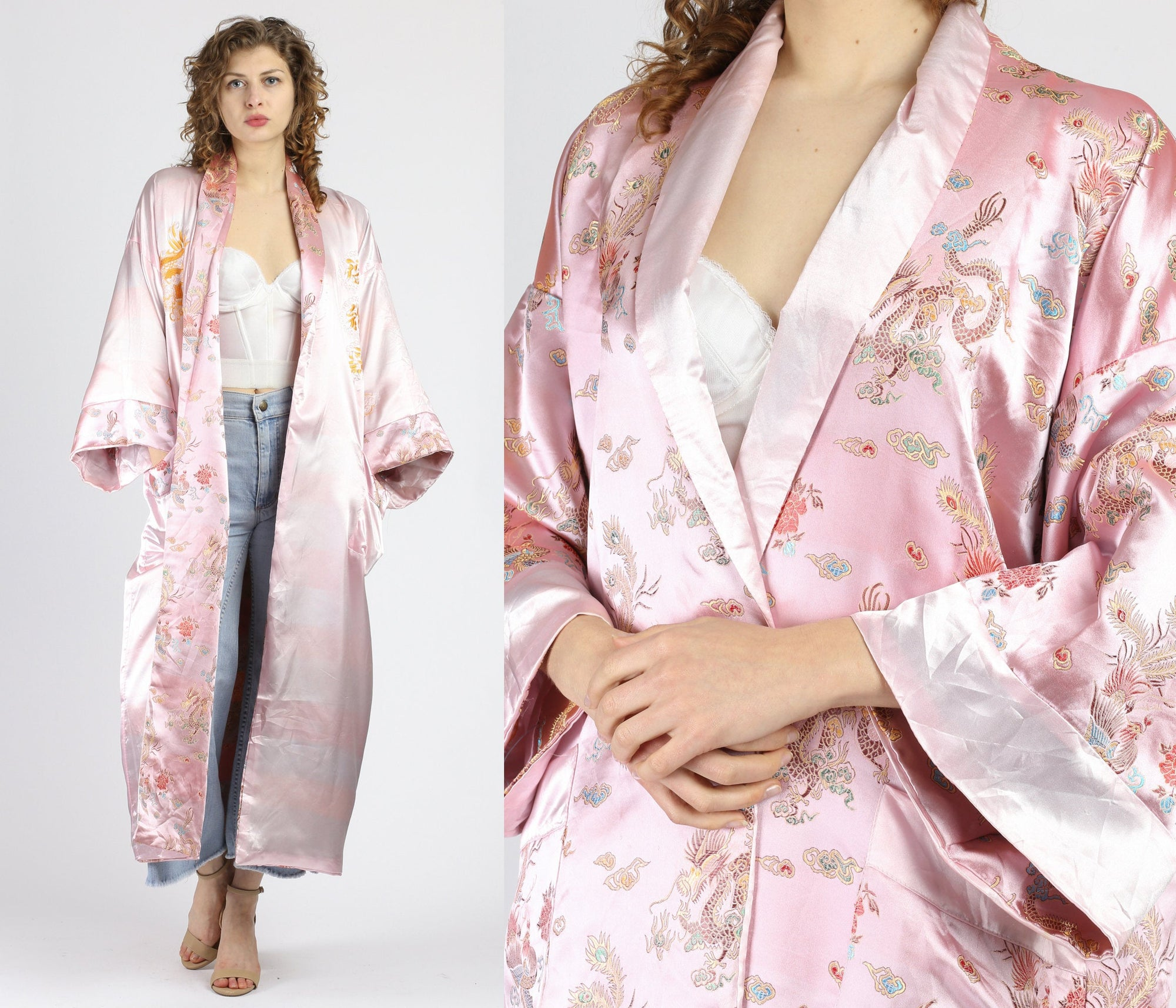 Vintage Pink Reversible Chinese Dragon Robe - One Size