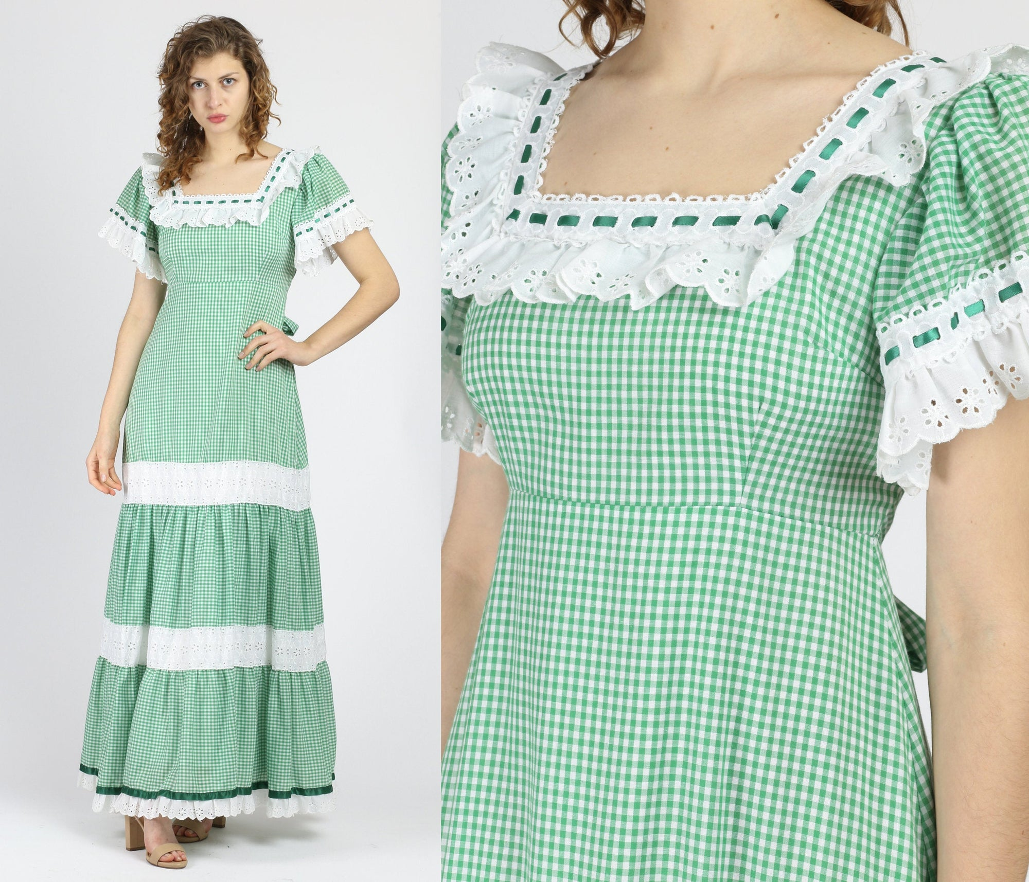70s Boho Green Gingham Maxi Dress - Medium