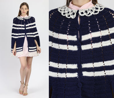 70s Boho Navy Blue Striped Knit Cape - Small