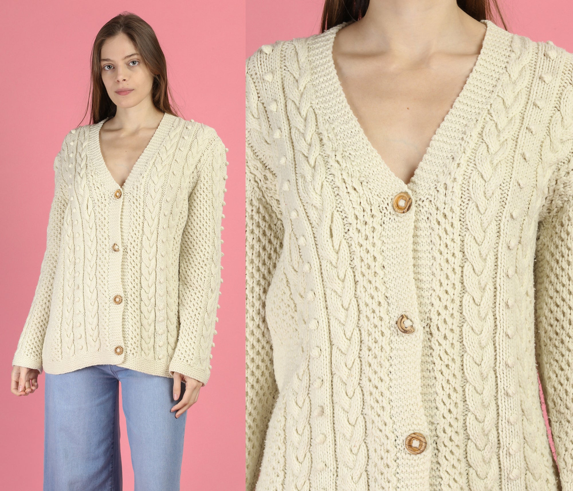 70s Popcorn Cable Knit Cardigan - Large